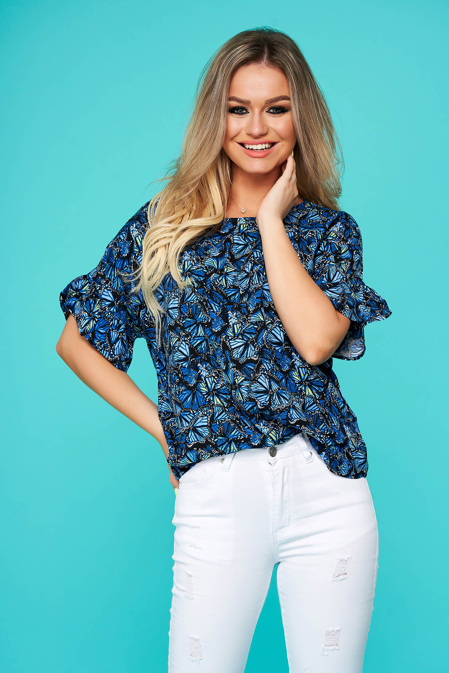 Blue women`s blouse casual flared thin fabric short sleeves
