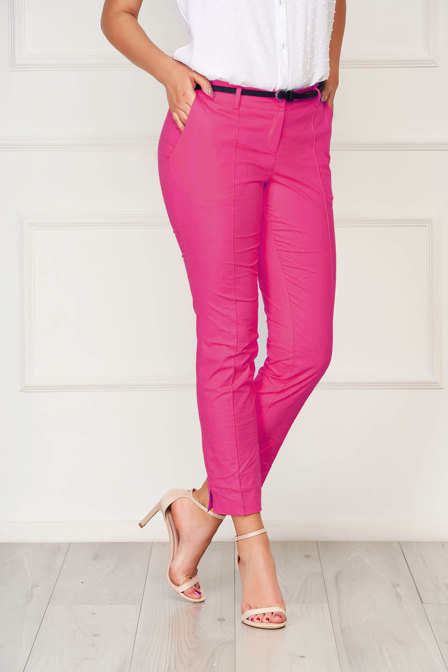 Fuchsia trousers office cotton conical with pockets