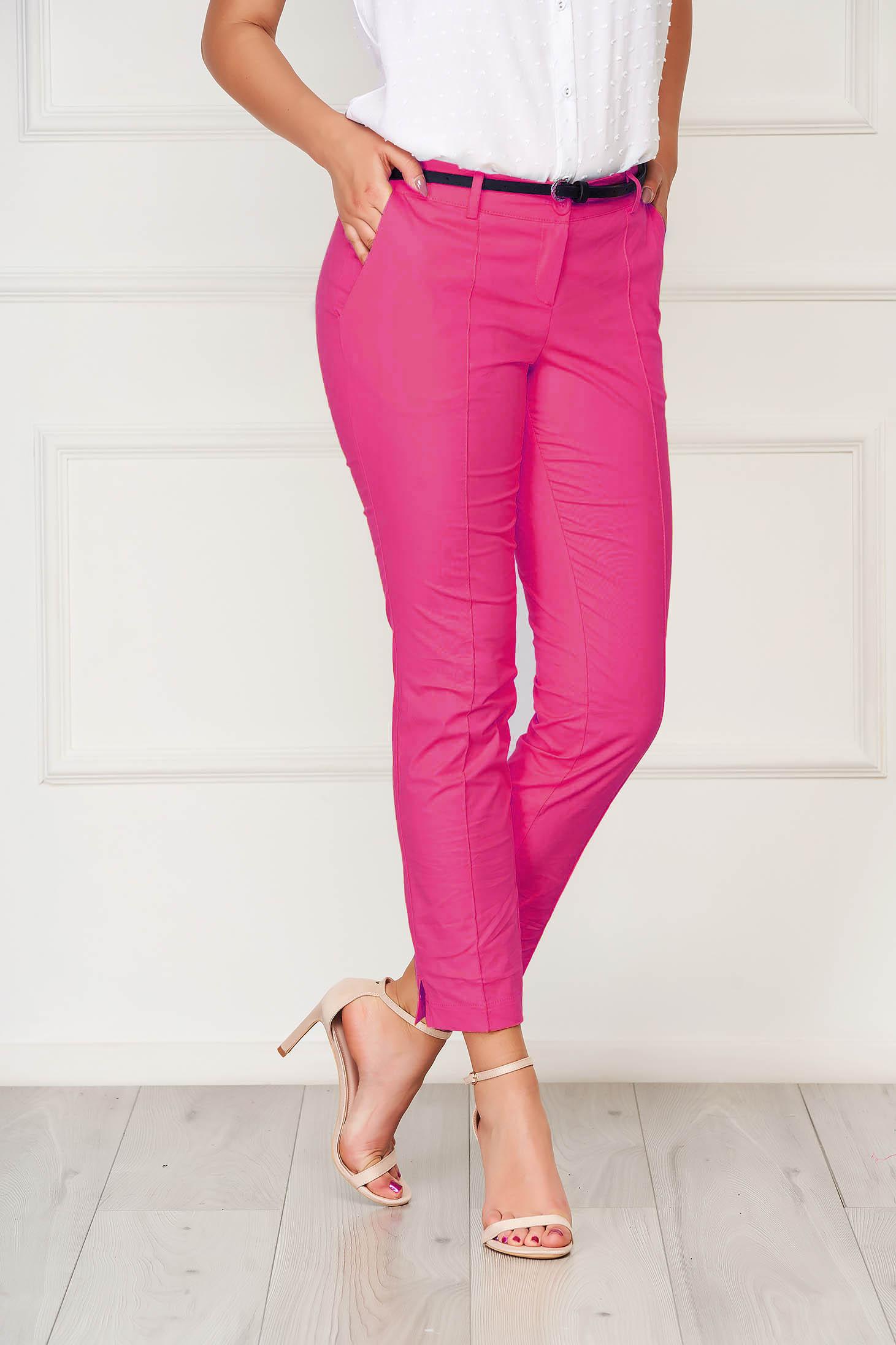 Pantaloni Artista fuchsia office conici din bumbac cu buzunare