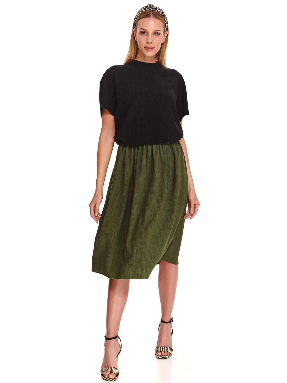 Green skirt casual midi thin fabric high waisted