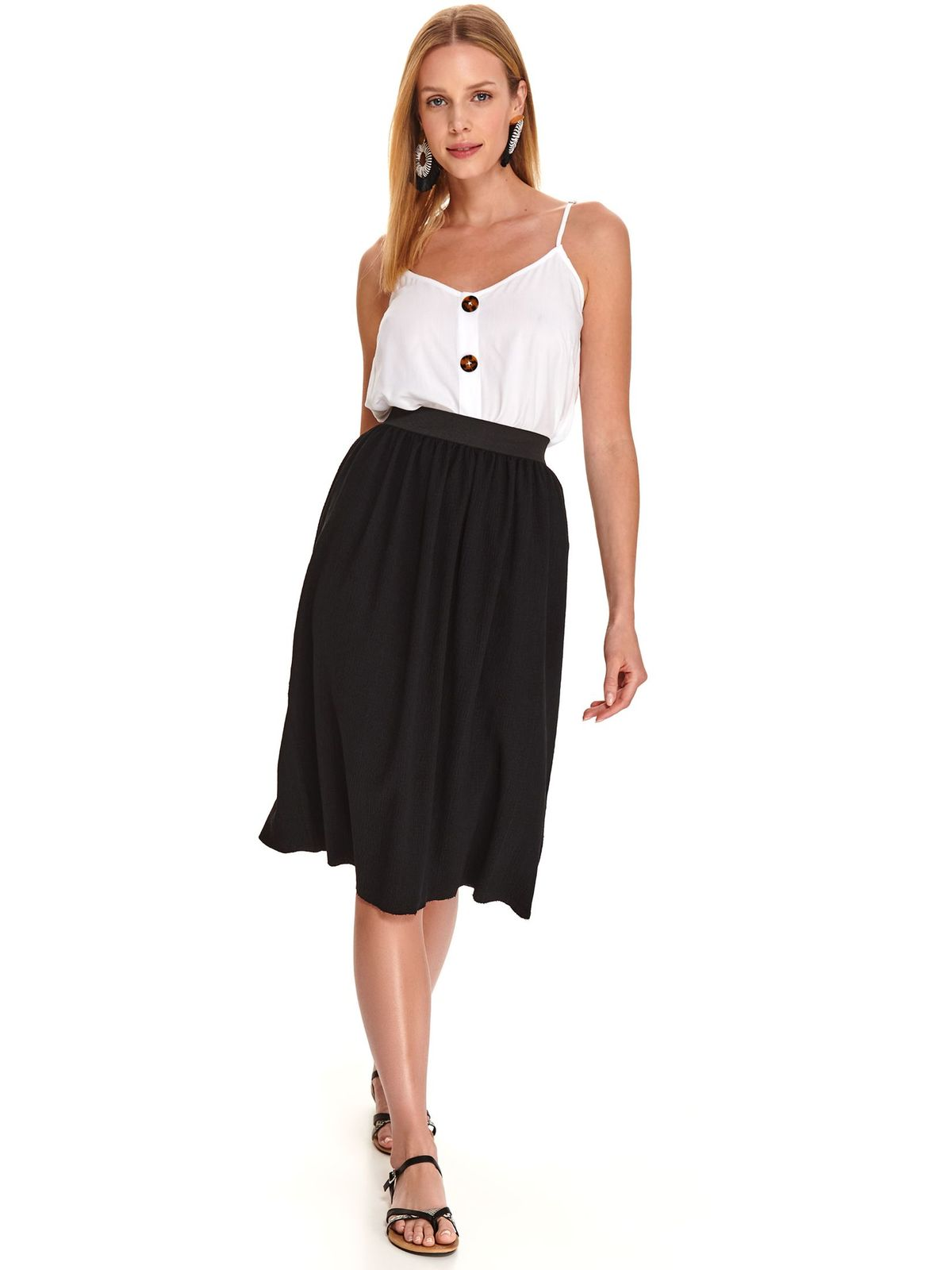 Black skirt casual midi thin fabric flaring cut