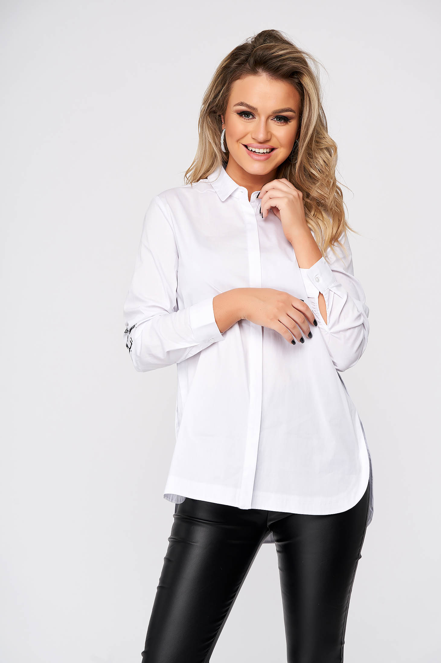 Fehér casual bő szabású női ing rugalmatlan pamutból