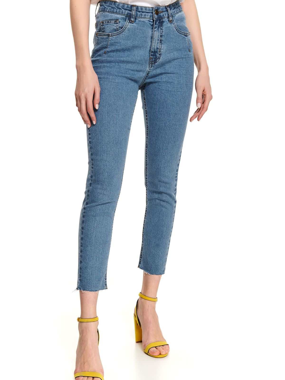 Blue trousers casual denim with tented cut high waisted