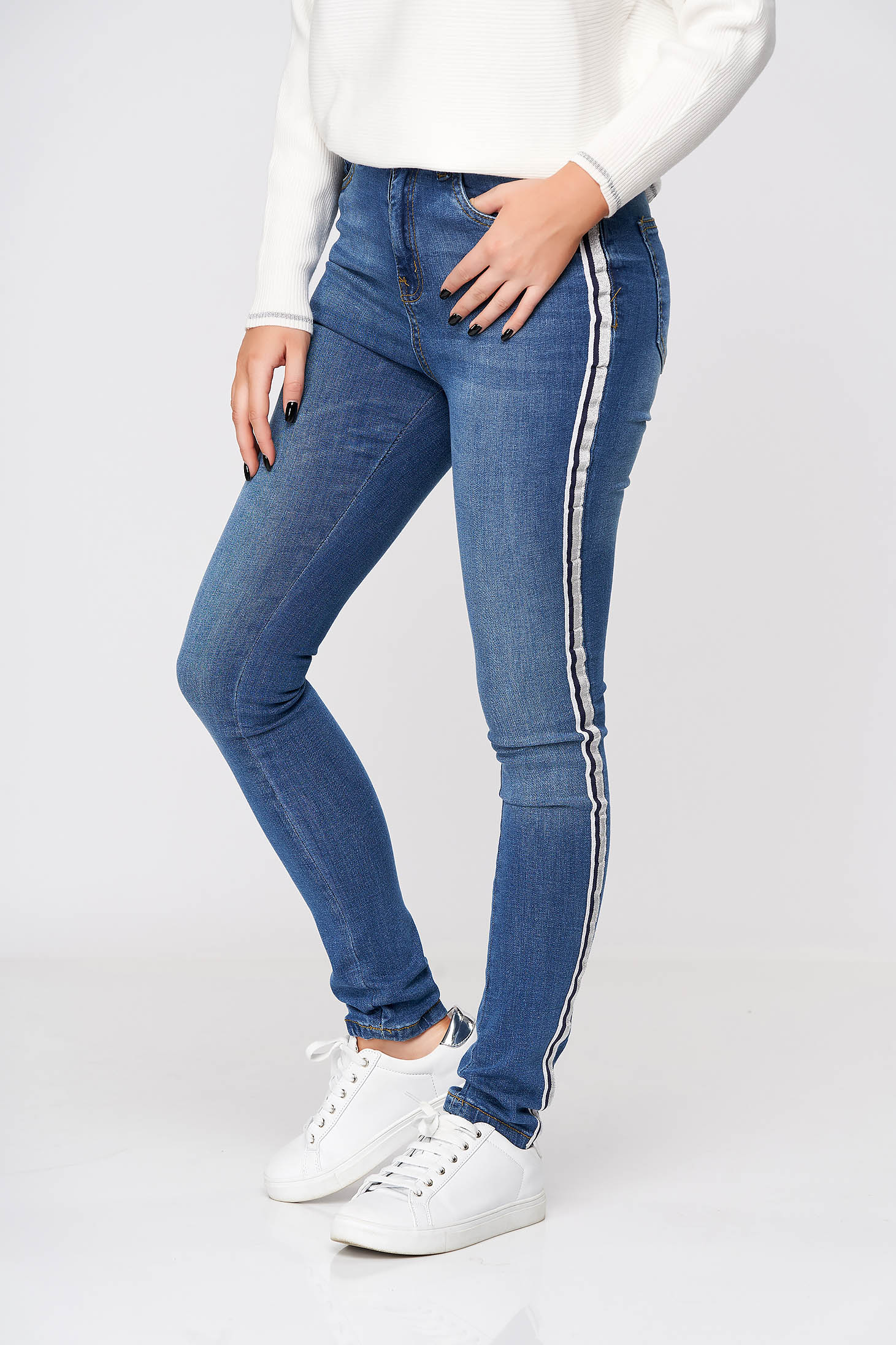 Blue trousers casual denim high waisted with tented cut