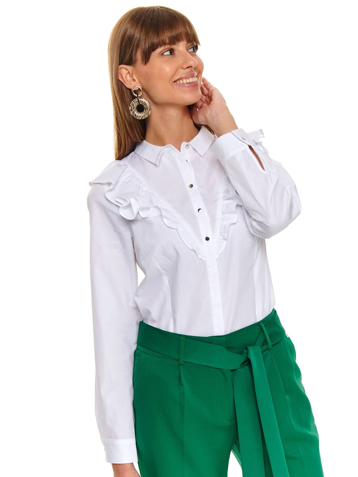 White women`s shirt office long sleeve cotton with ruffle details