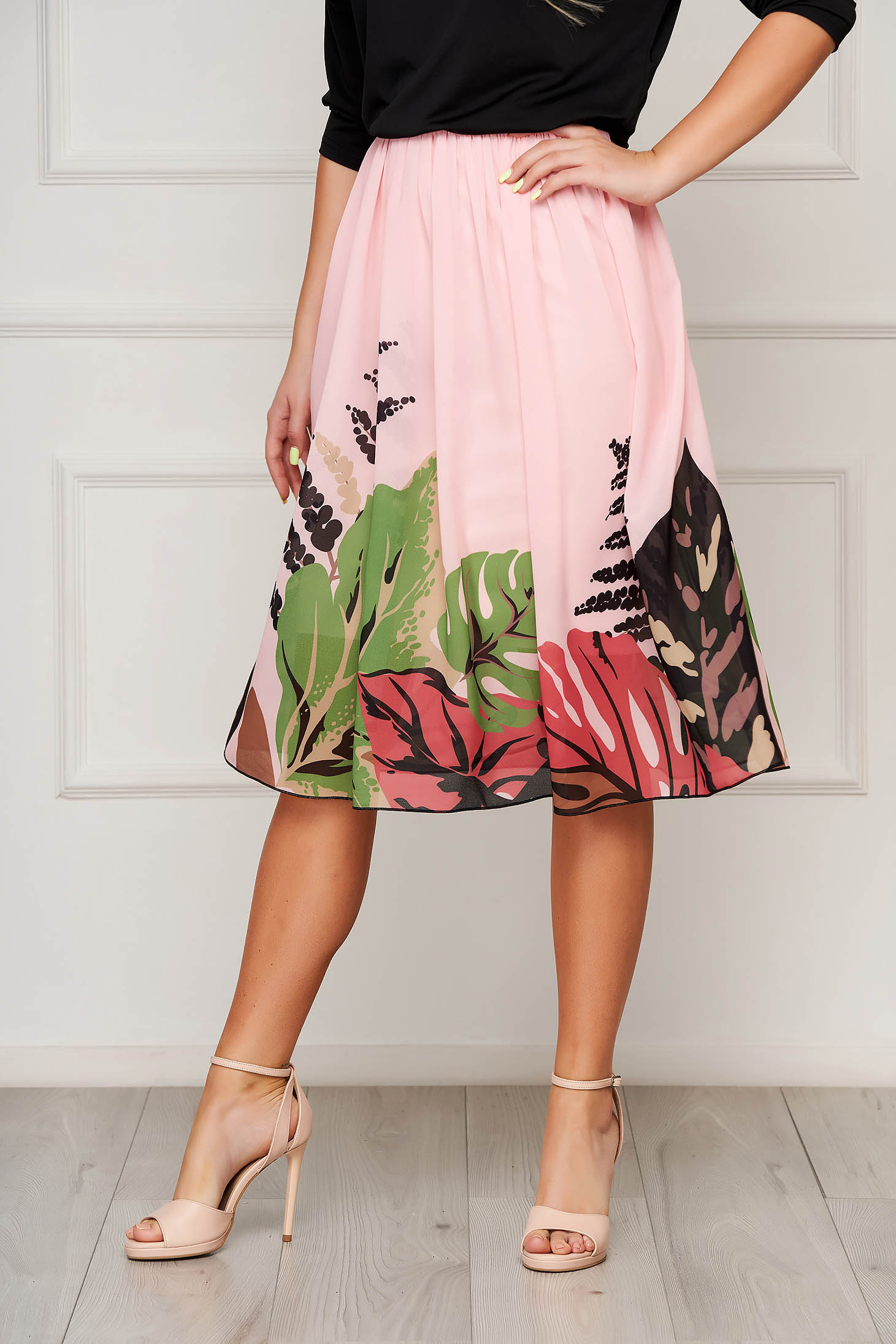 StarShinerS lightpink skirt elegant midi cloche from veil fabric high waisted