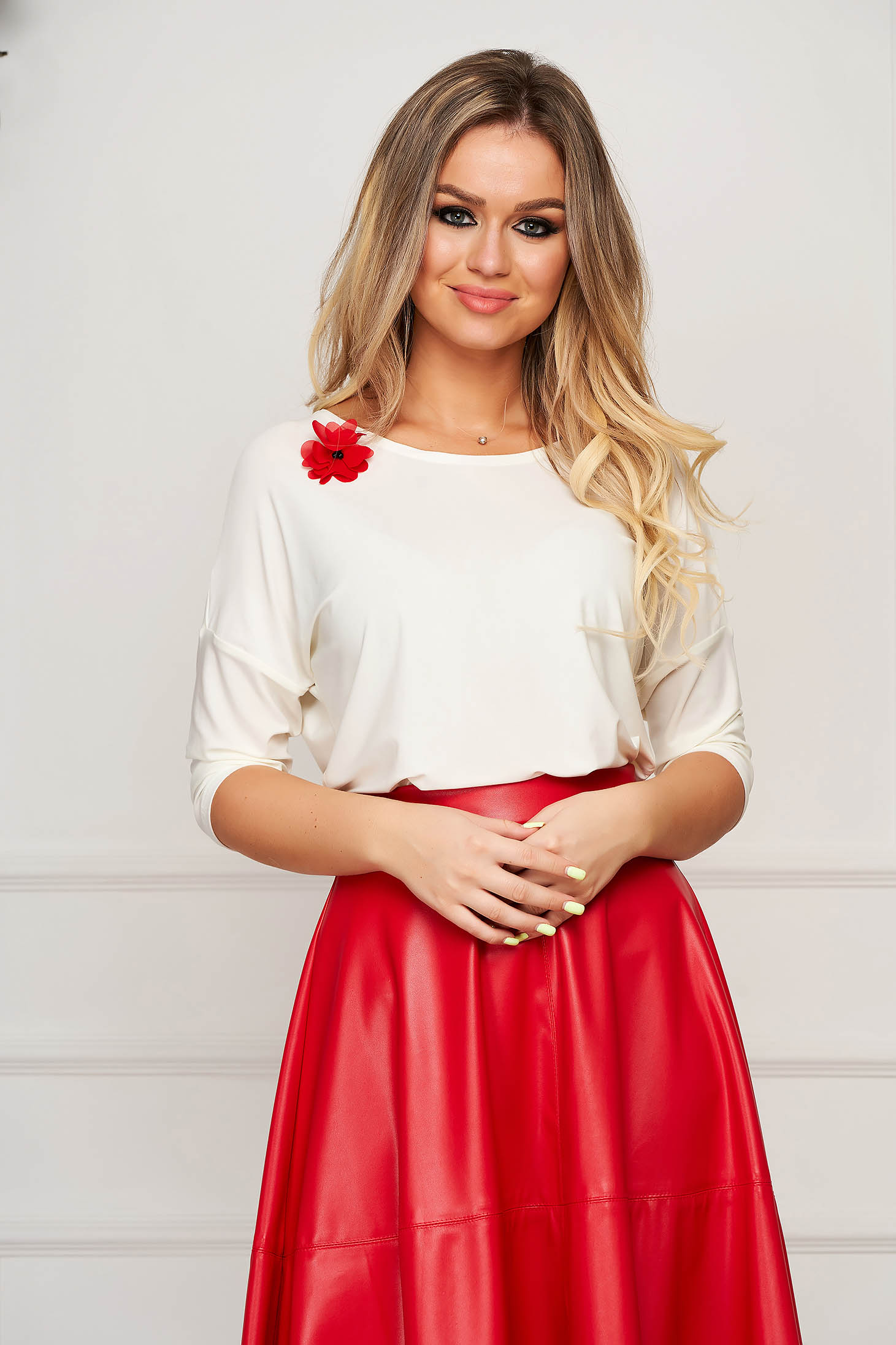 Women`s blouse StarShinerS white elegant flared accessorized with breastpin