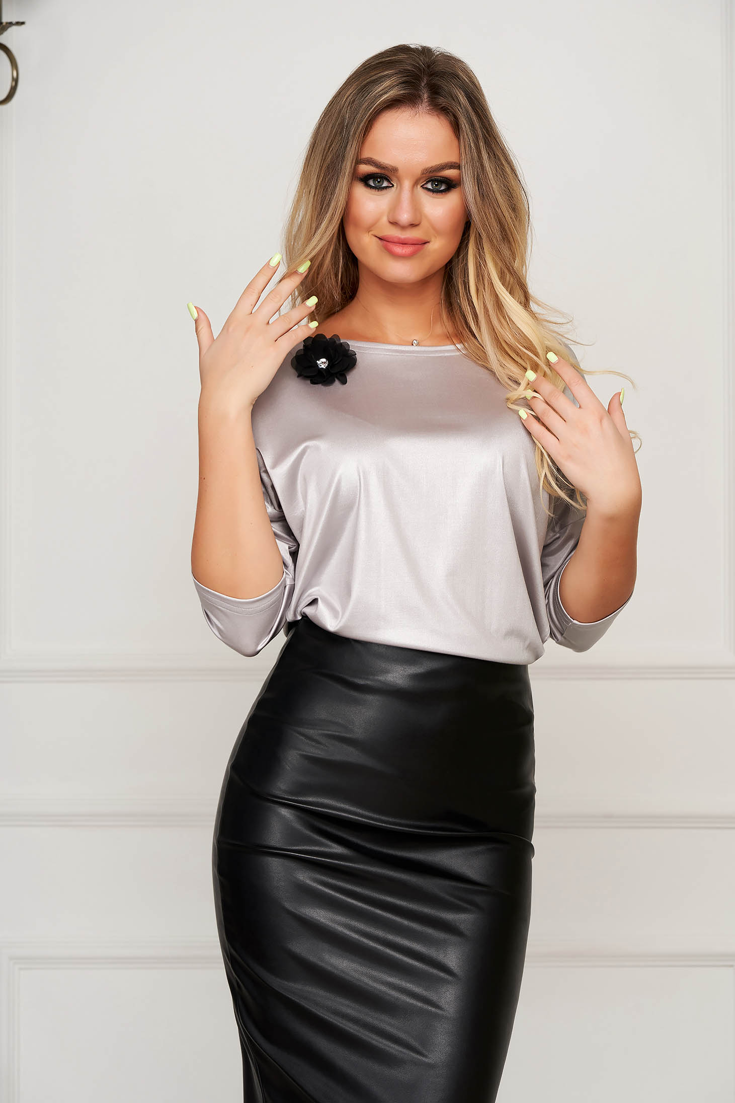 Women`s blouse StarShinerS grey elegant flared accessorized with breastpin