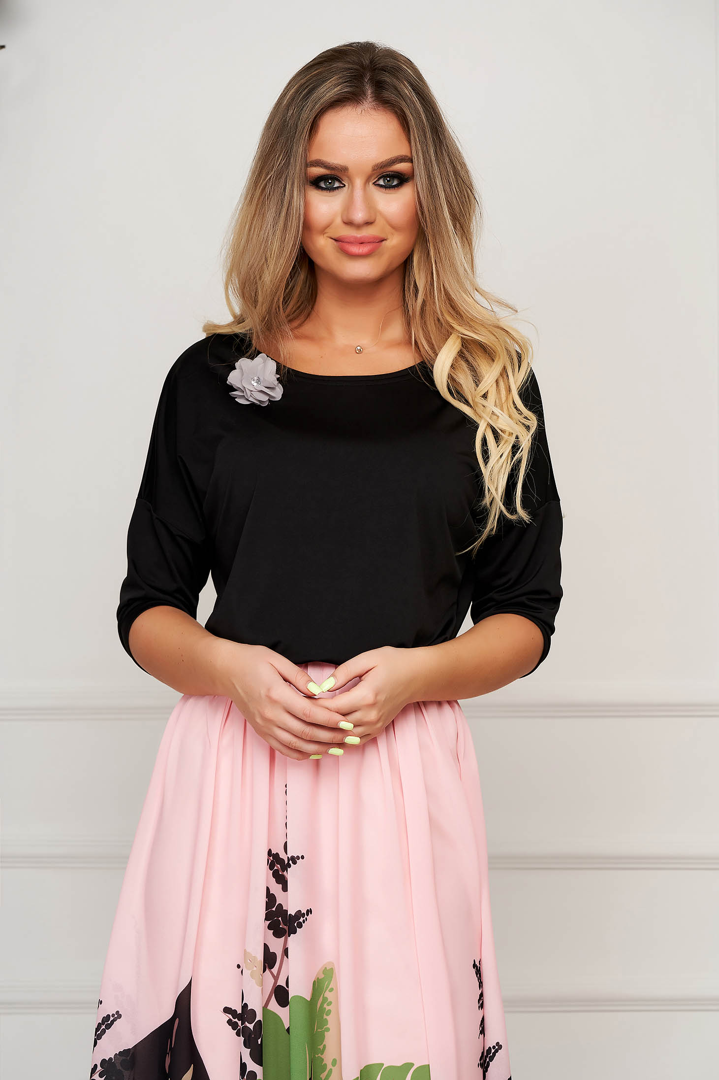 Women`s blouse StarShinerS black elegant flared accessorized with breastpin