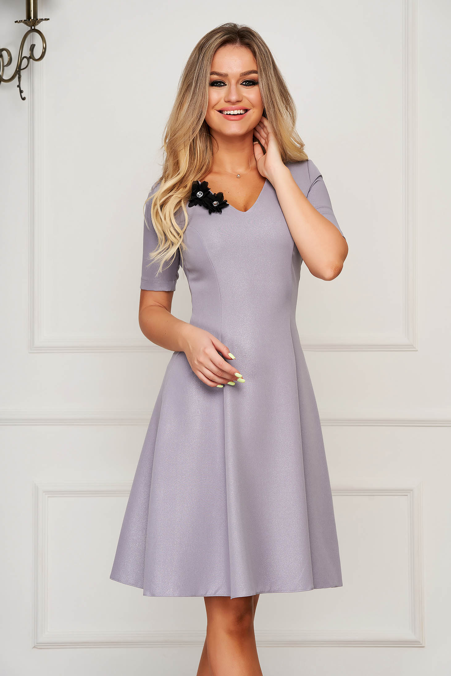 StarShinerS grey dress elegant midi cloche with v-neckline slightly elastic fabric with floral details