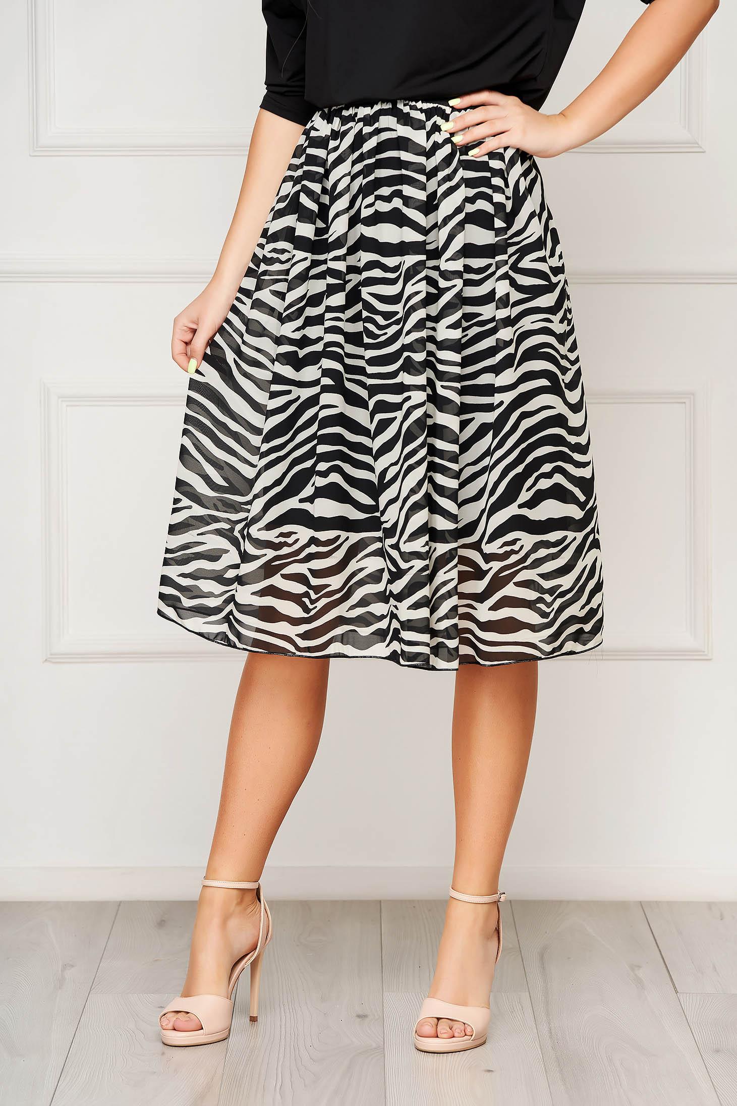 StarShinerS white skirt elegant midi cloche elastic waist from veil fabric