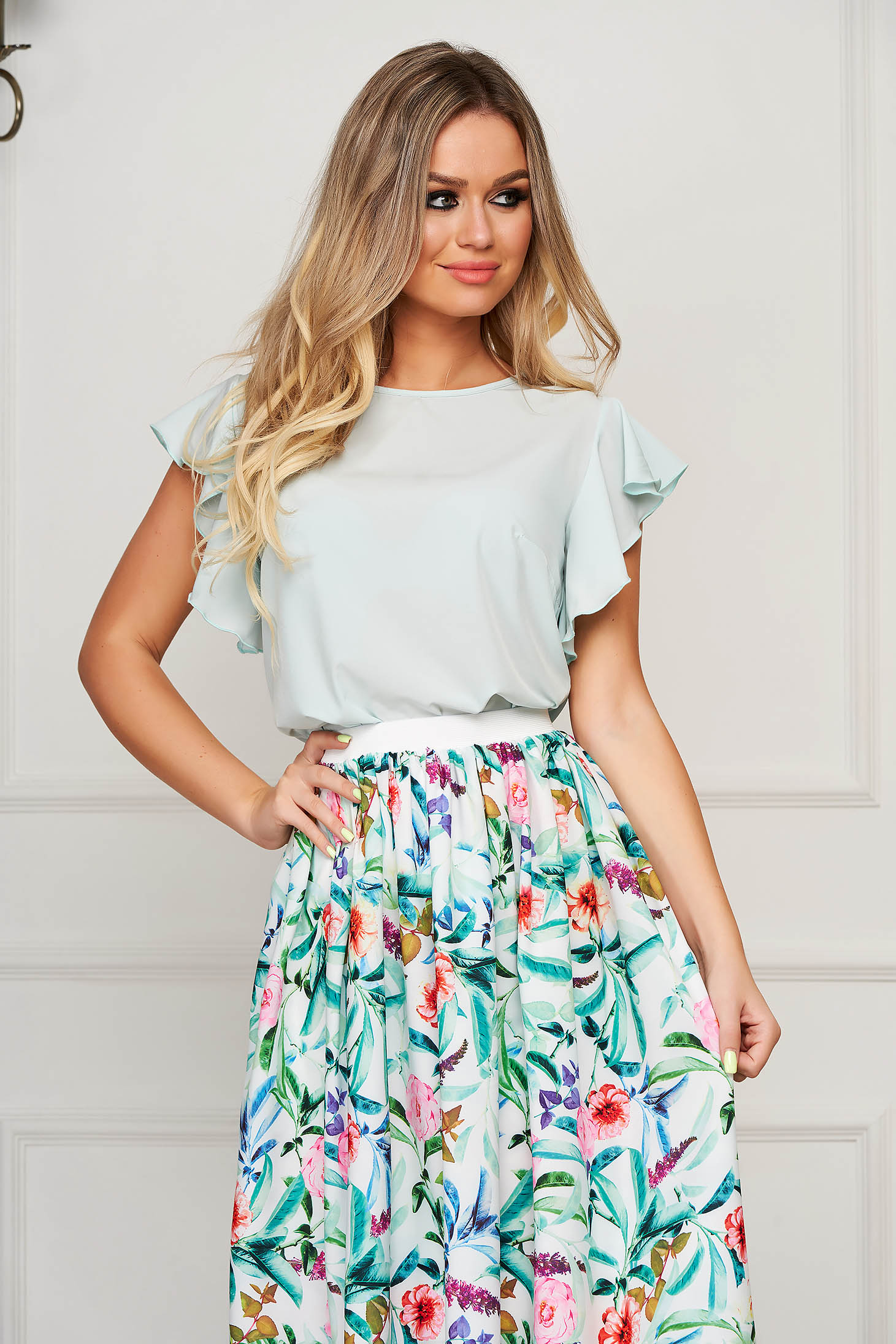 StarShinerS mint women`s blouse elegant flared with ruffle details