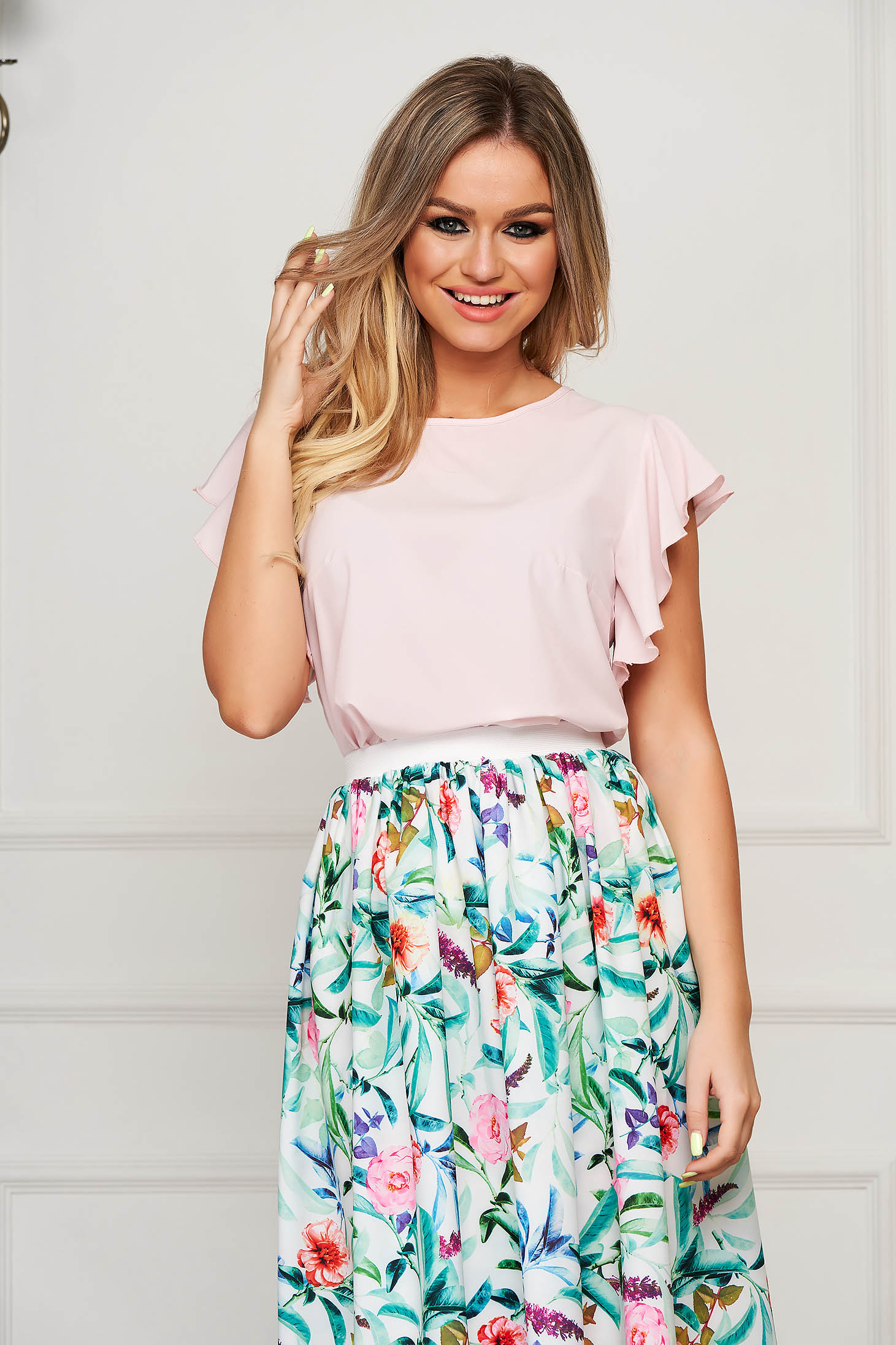 StarShinerS lightpink women`s blouse elegant flared with ruffle details