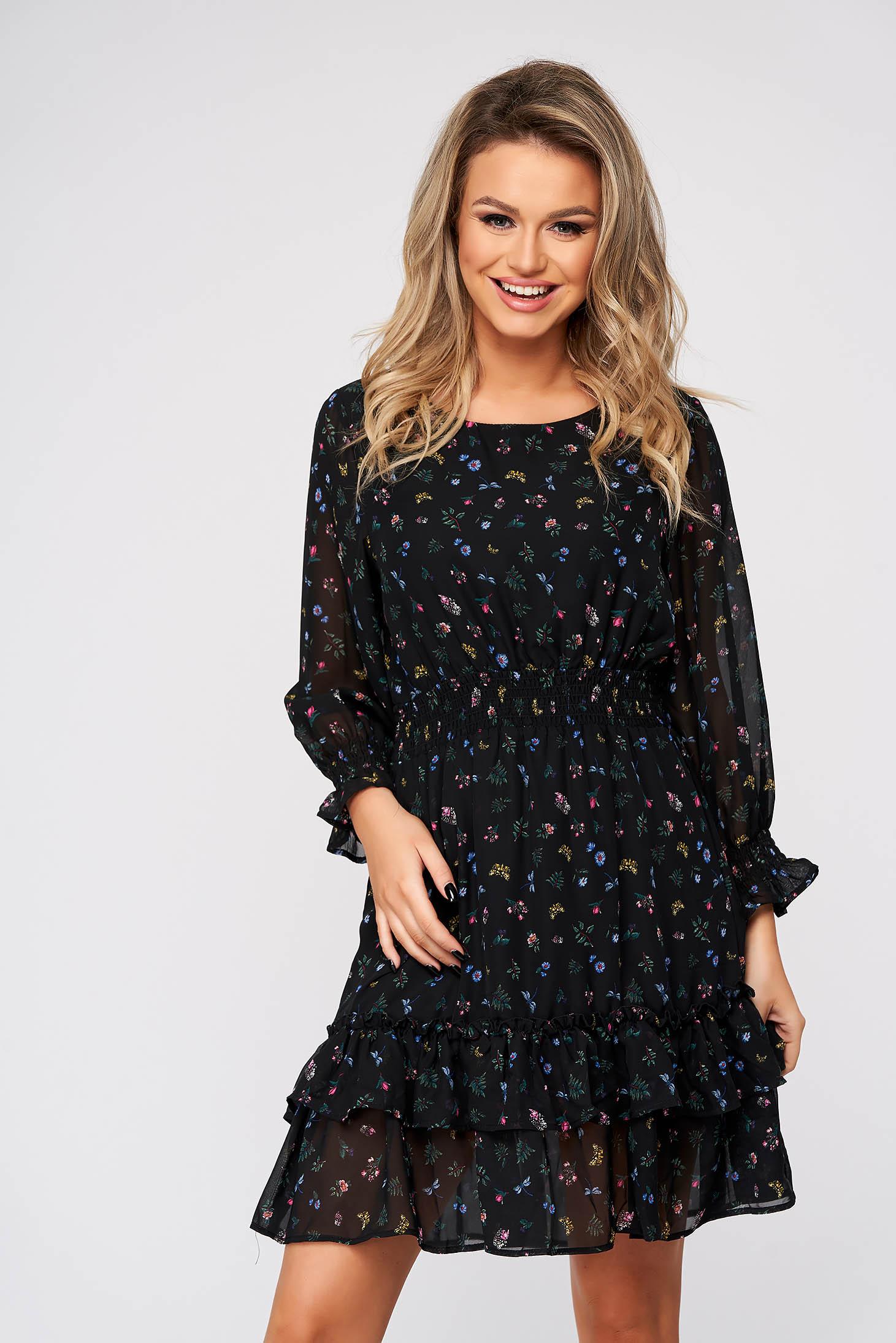 Fekete midi hétköznapi ruha harang alakú gumirozott derékrésszel muszlinból