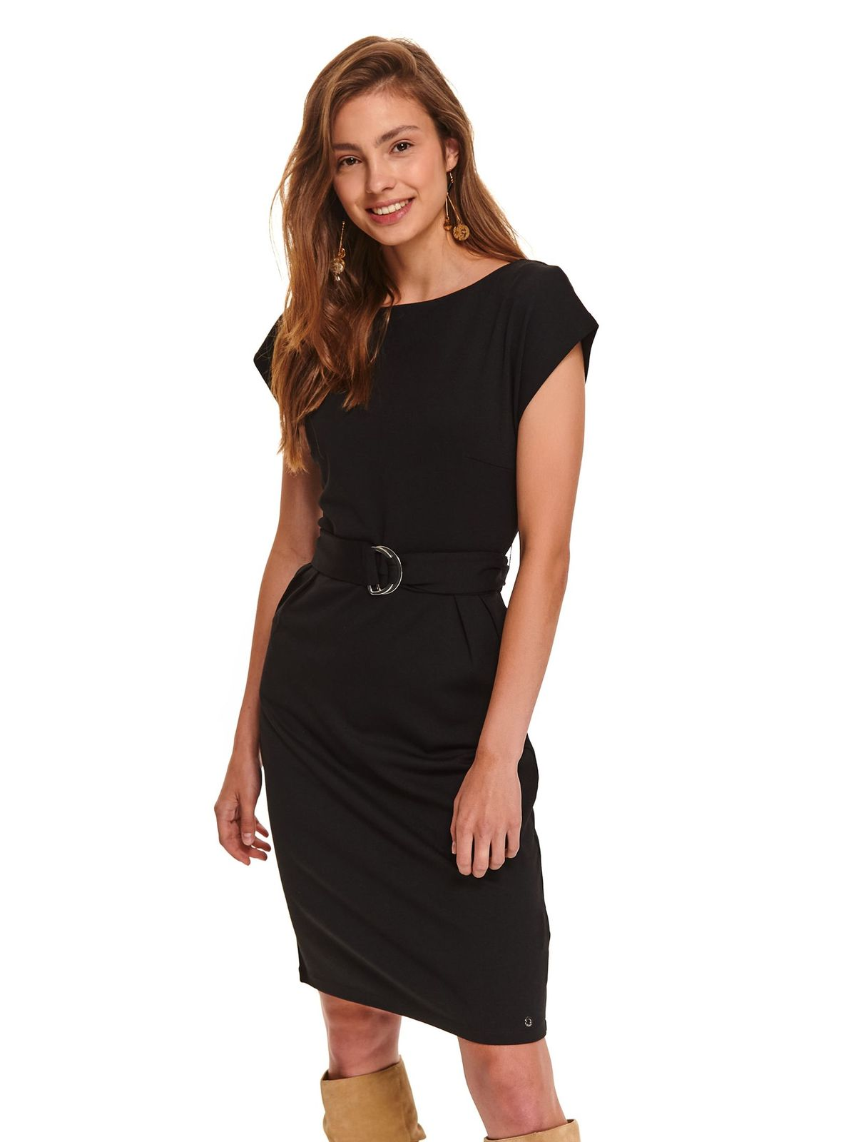 Black dress midi daily pencil thin fabric accessorized with tied waistband