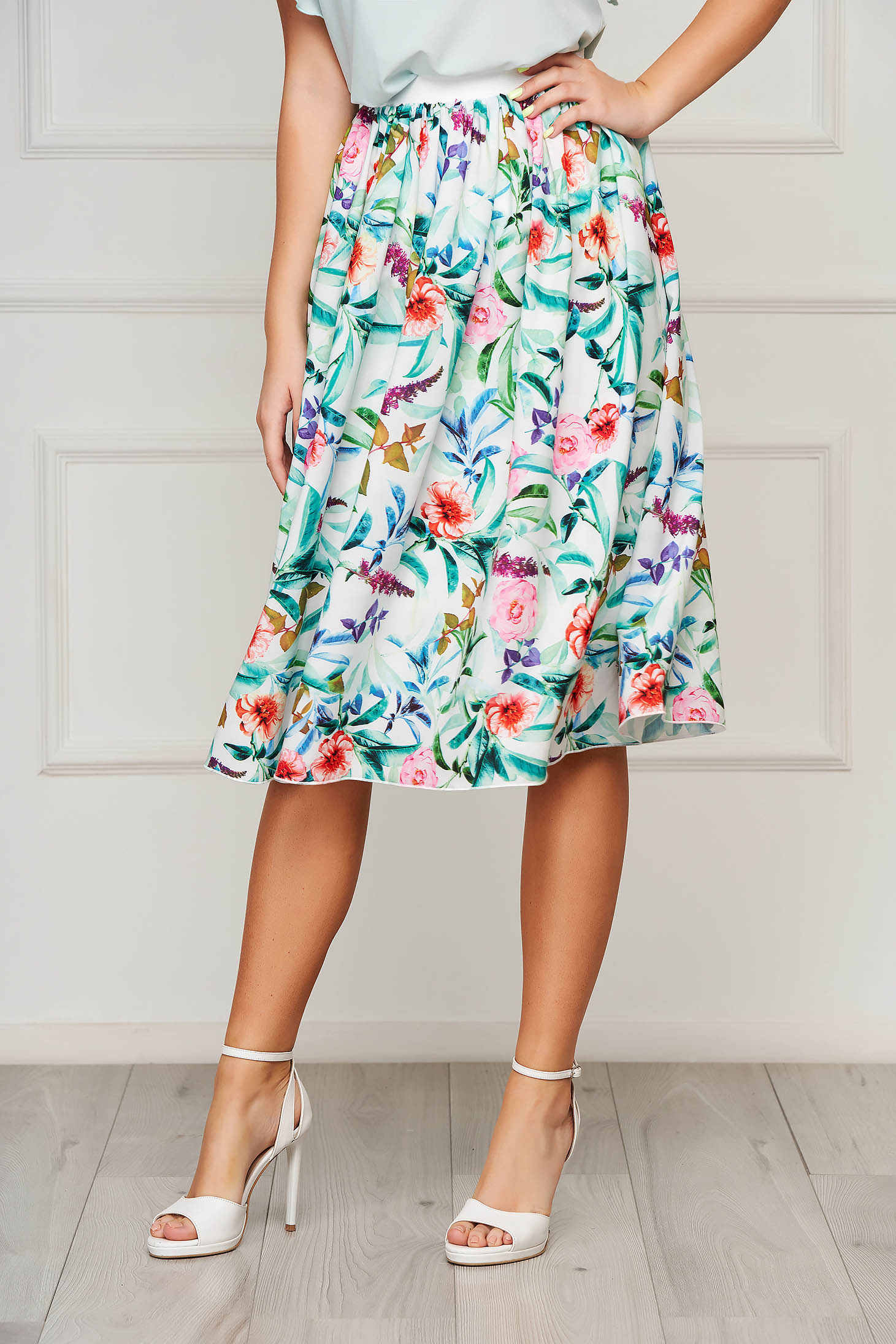 StarShinerS white skirt elegant midi cloche elastic waist from veil fabric with floral print