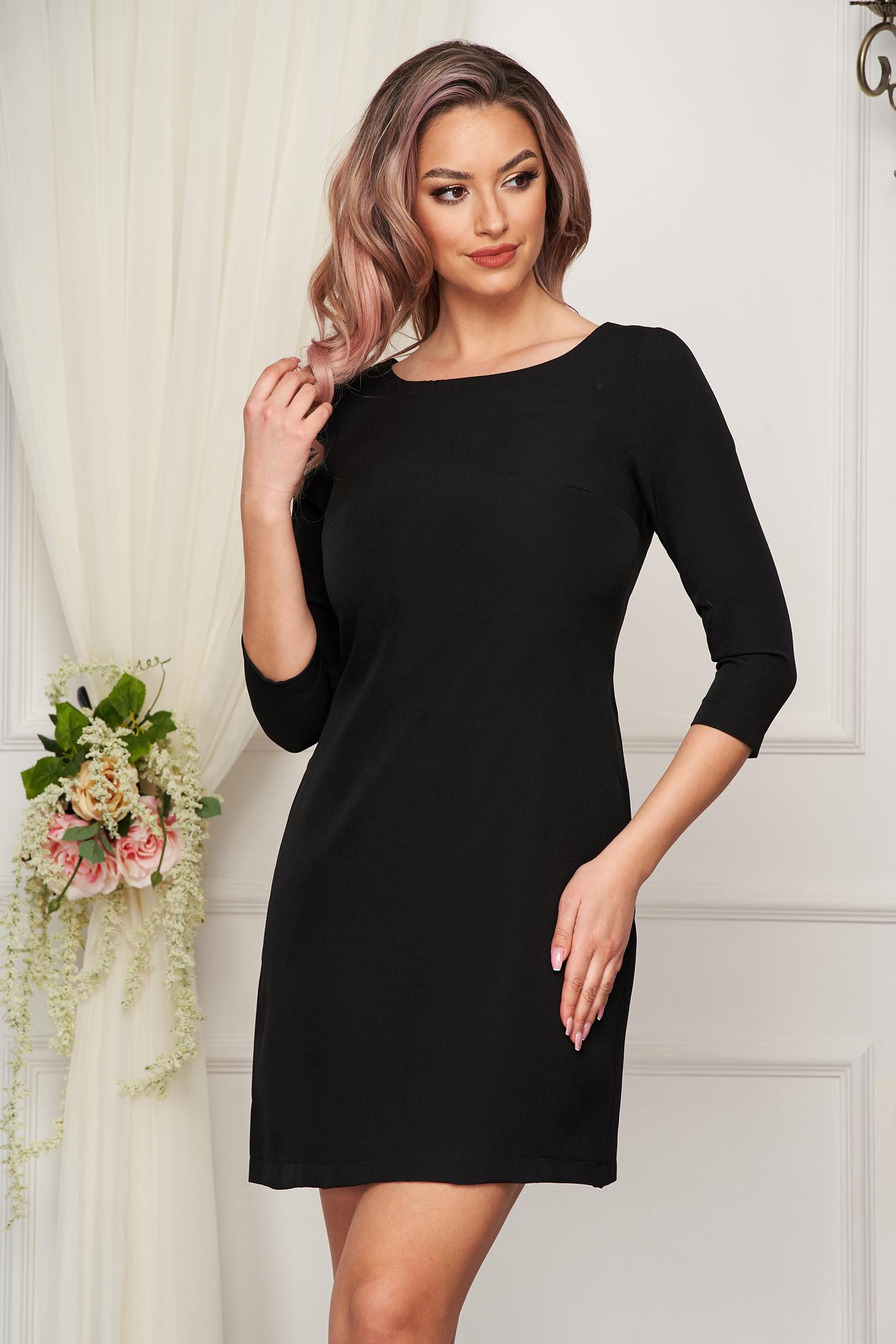 Dress StarShinerS black elegant short cut straight slightly elastic fabric