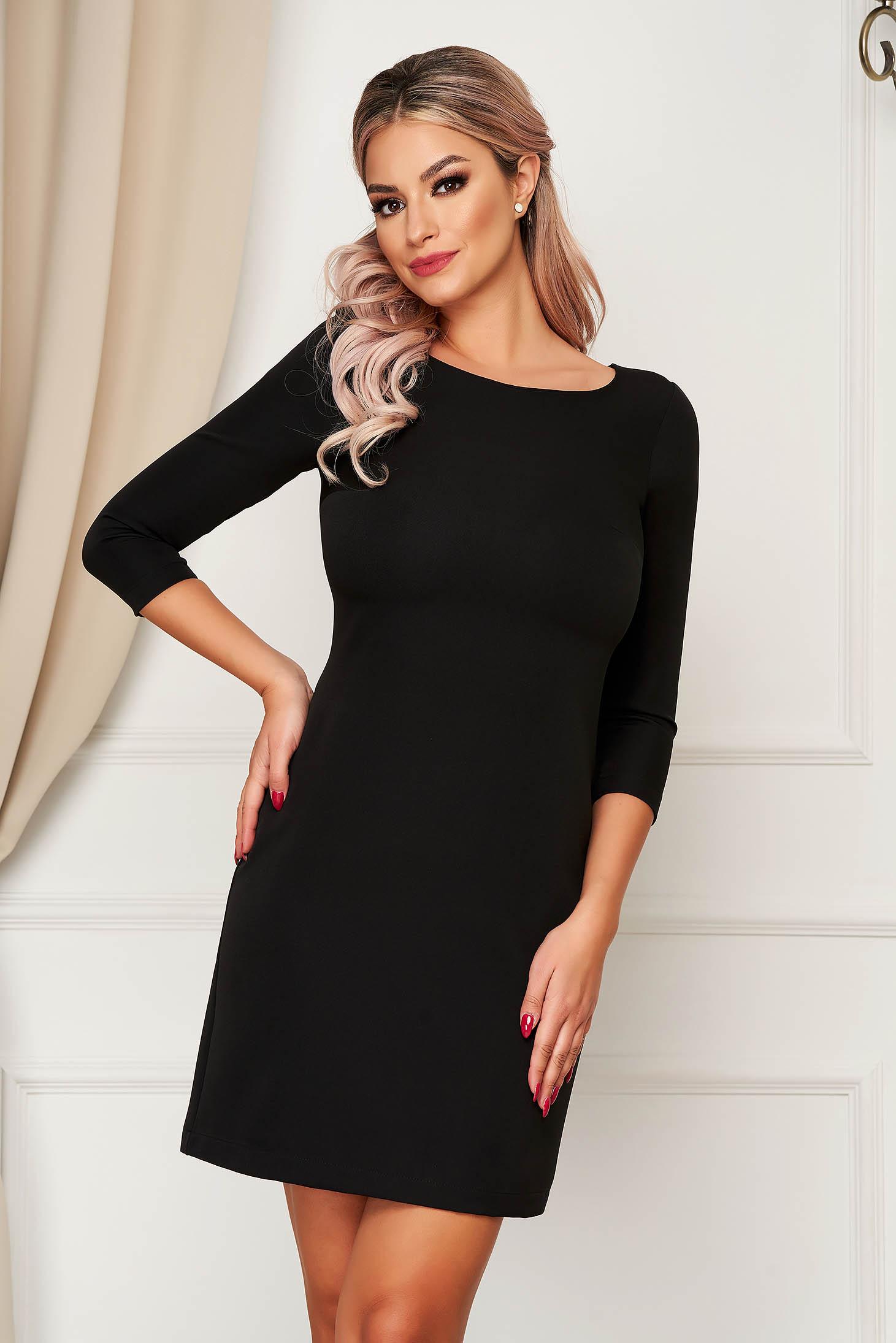 StarShinerS fekete elegáns rövid egyenes ruha enyhén rugalmas szövetből