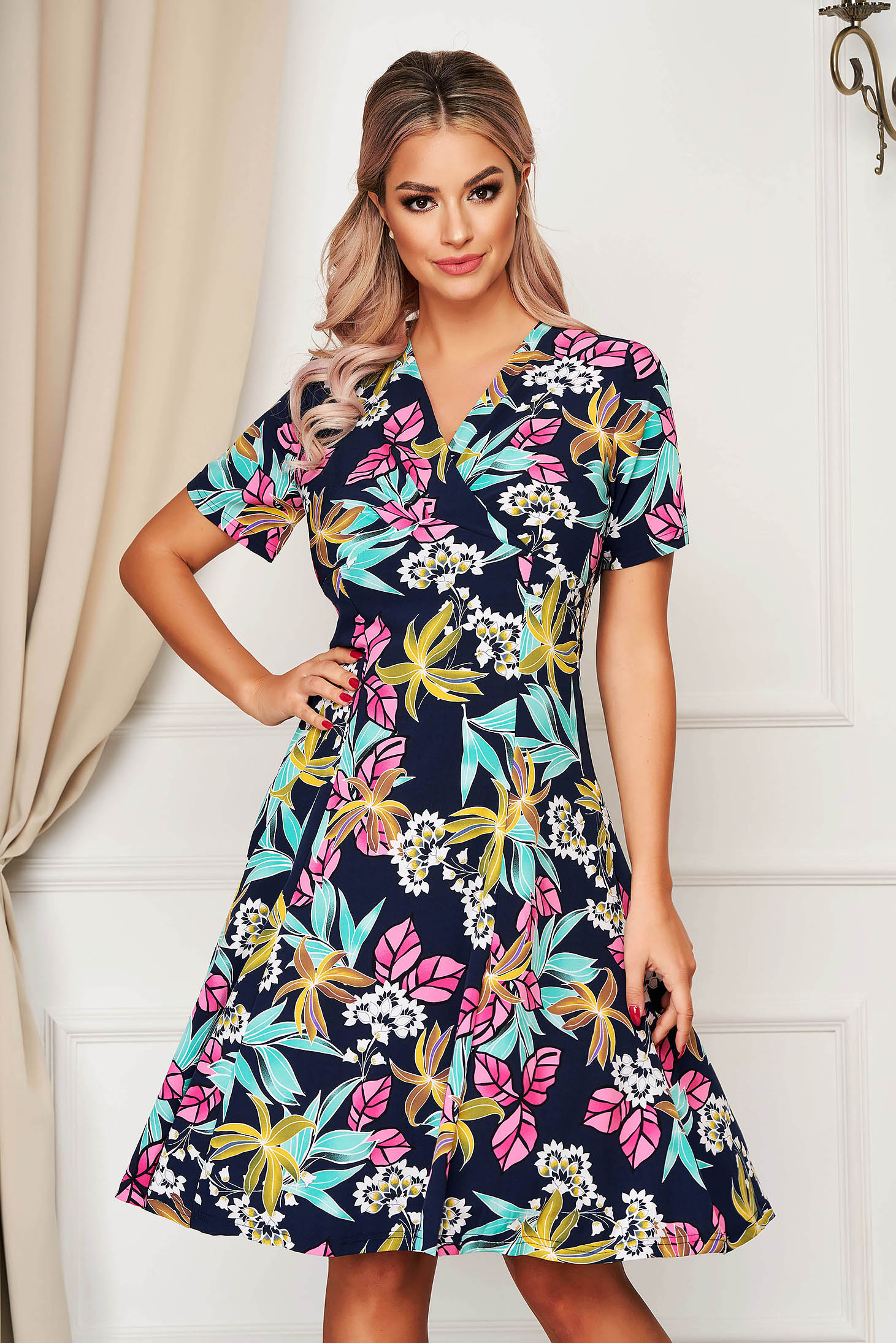 Darkblue dress daily flaring cut with v-neckline short sleeve from elastic fabric