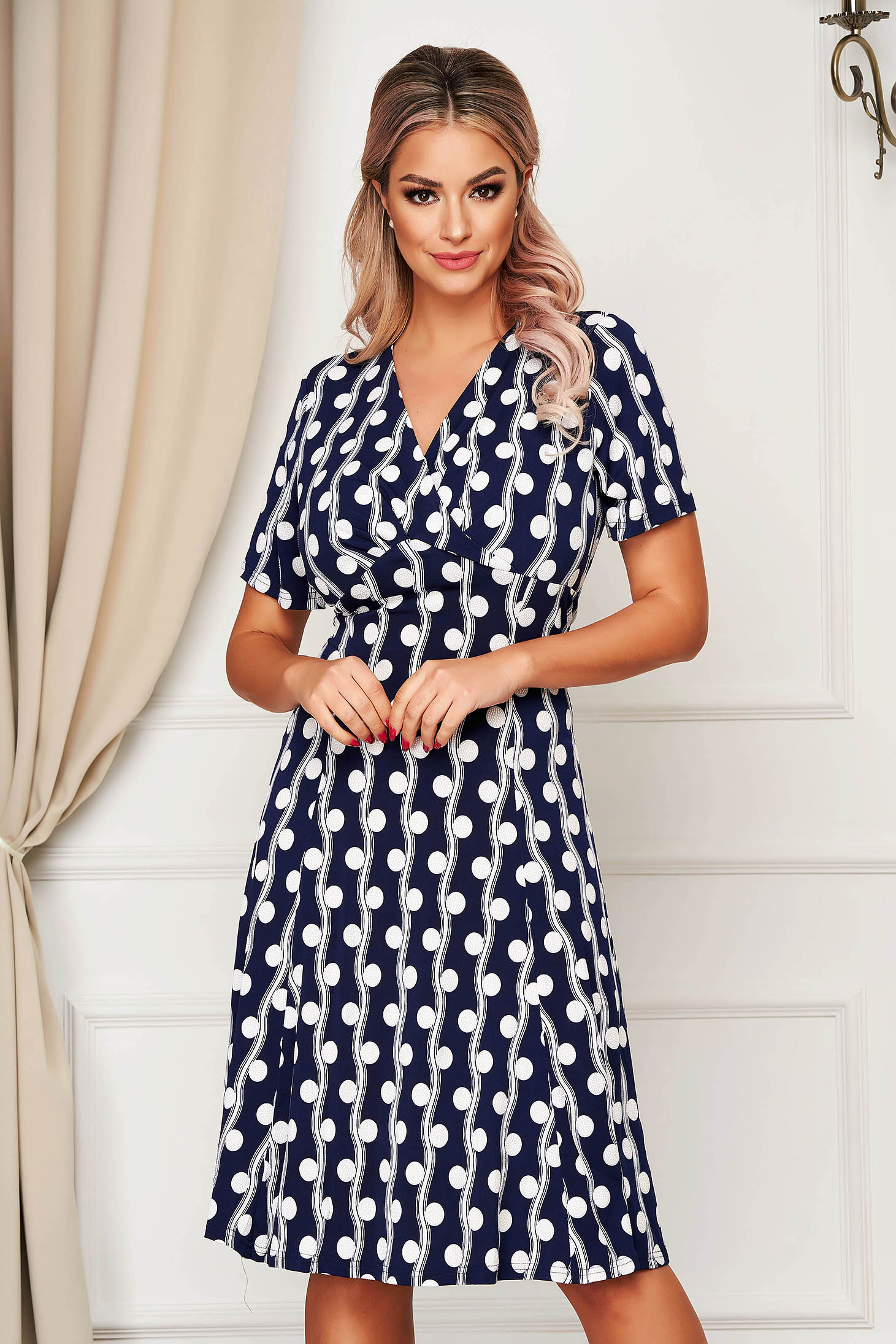 Darkblue dress daily midi cloche wrap over front from elastic fabric