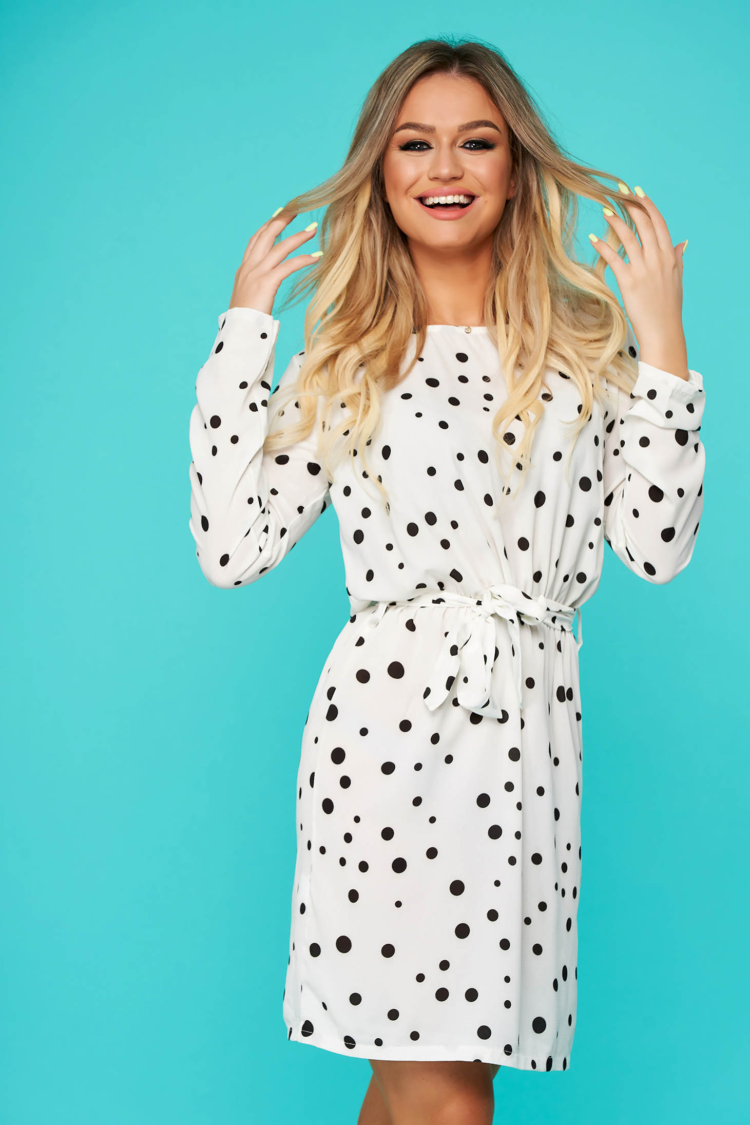 White dress daily cloche with elastic waist accessorized with tied waistband thin fabric with dots print