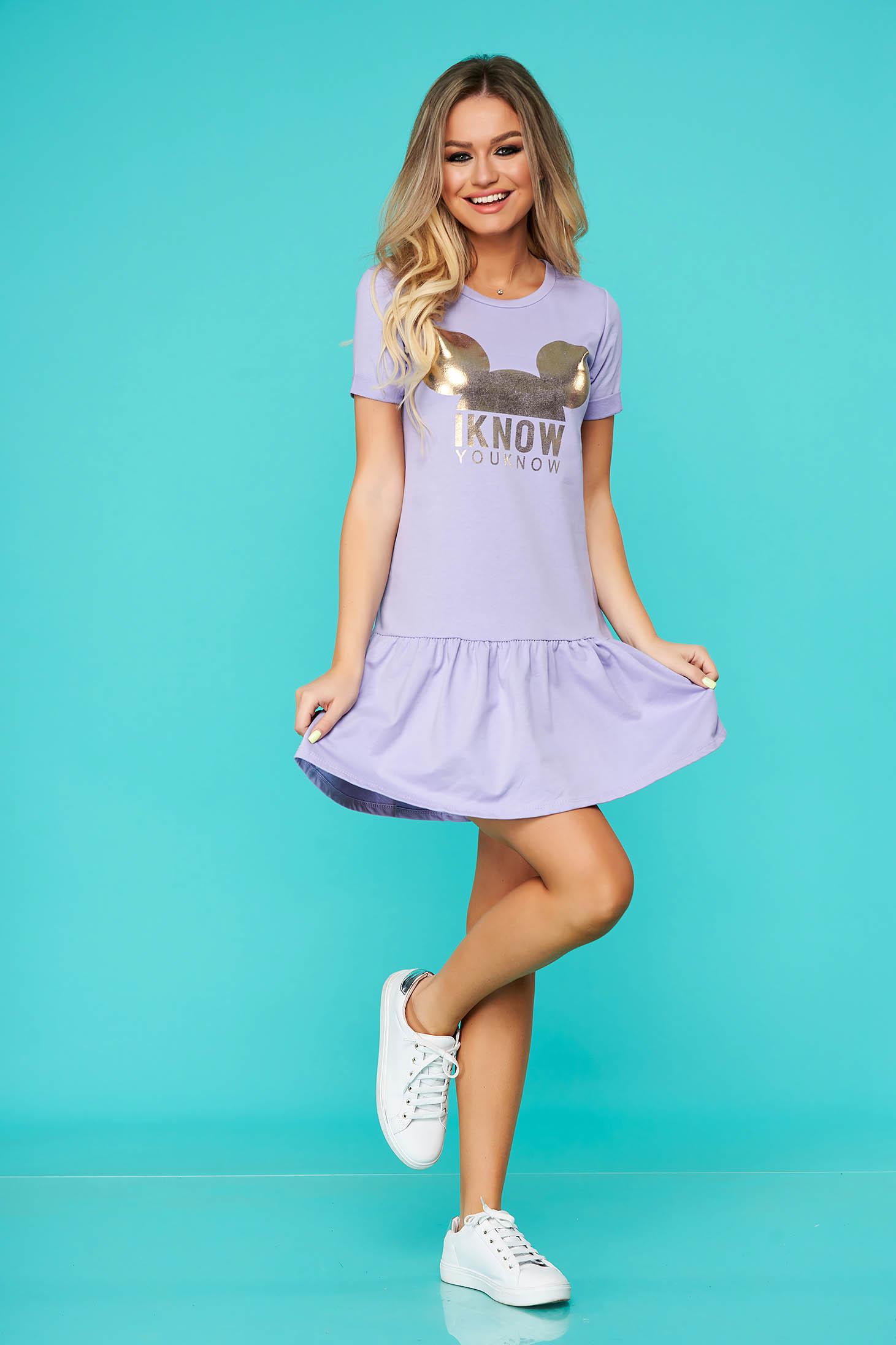 Purple dress casual with easy cut nonelastic cotton