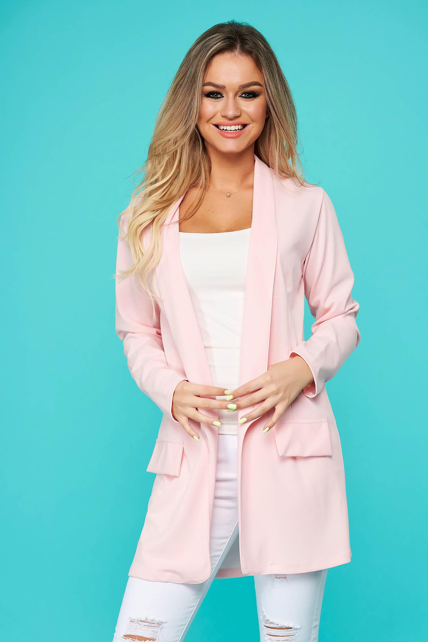 Sacou SunShine roz deschis tip blazer lunga cu croi larg din material usor elastic