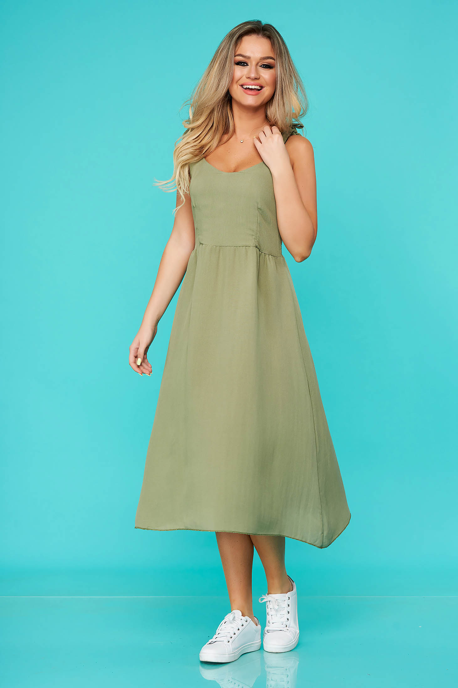 Green dress daily straight midi with rounded cleavage nonelastic cotton