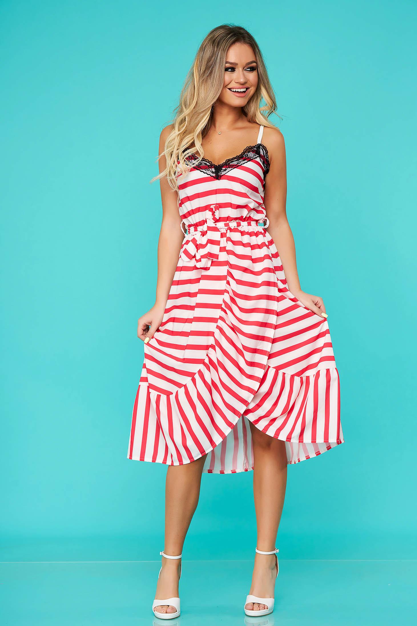 Rochie SunShine rosie de zi cu elastic in talie cu decolteu in v cu volanase la baza rochiei