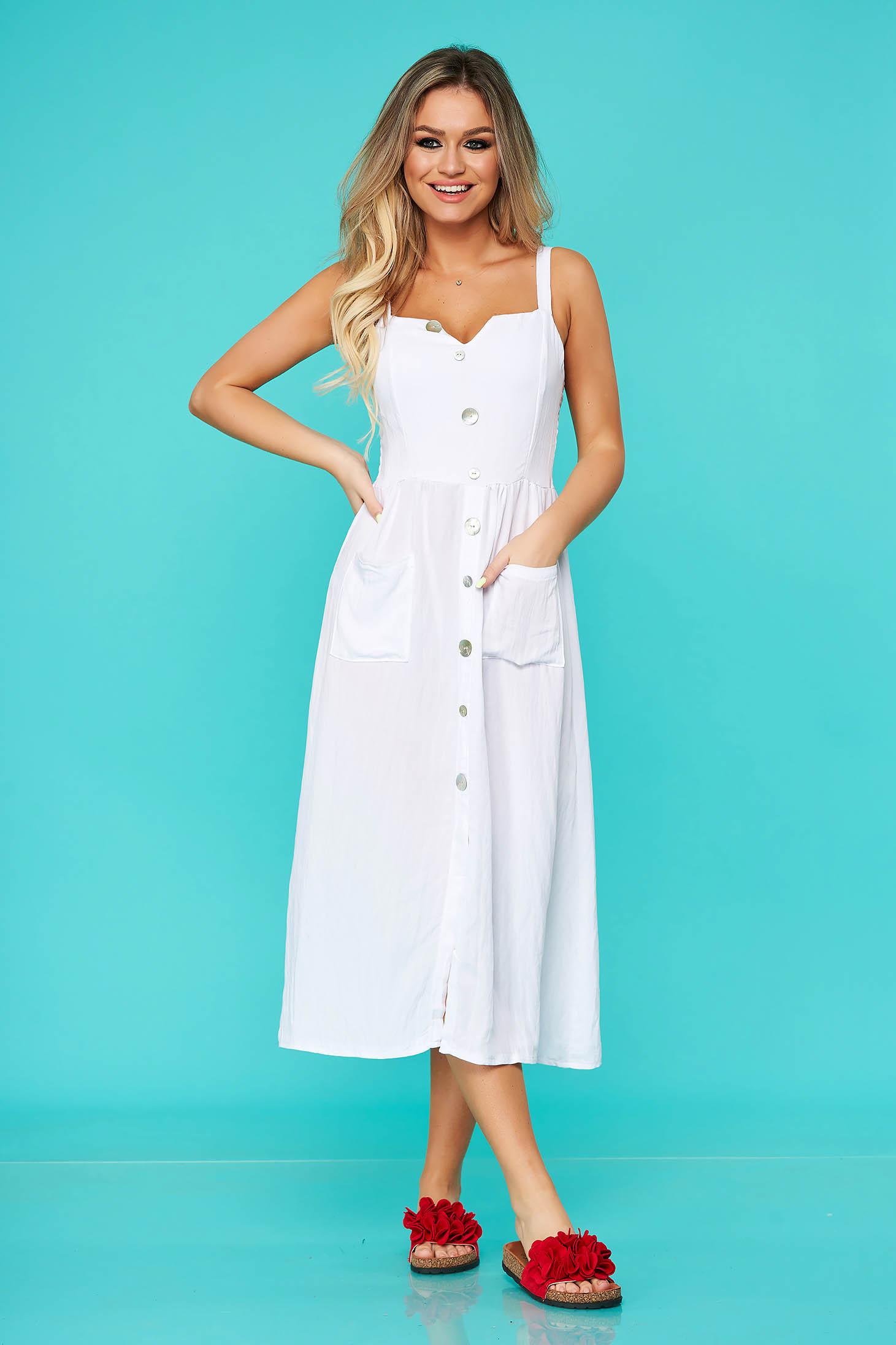 Fehér casual midi ruha rugalmatlan pamutból gomb kiegészítőkkel