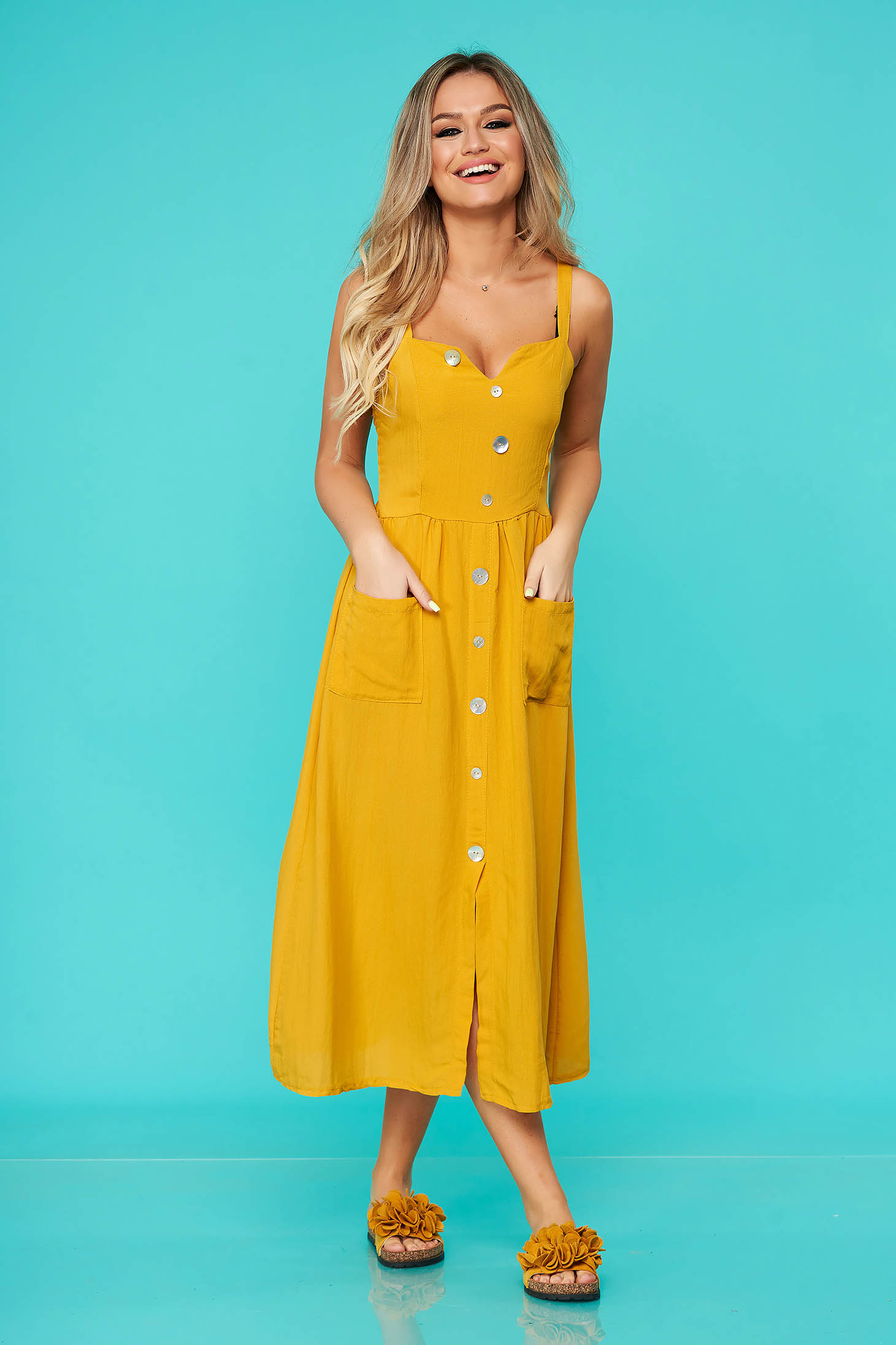 Mustard dress casual midi nonelastic cotton with button accessories