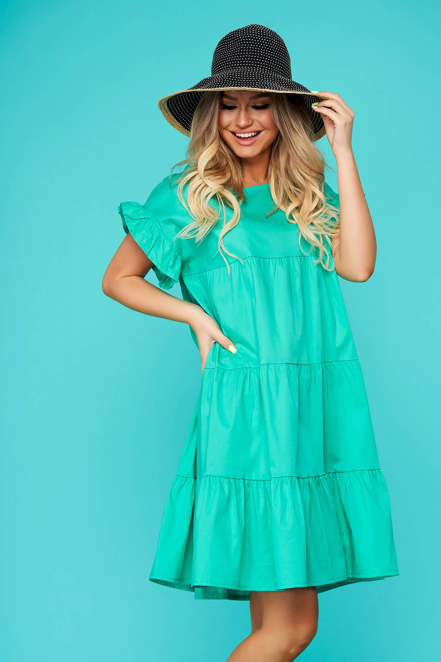 Turquoise dress daily flared nonelastic cotton