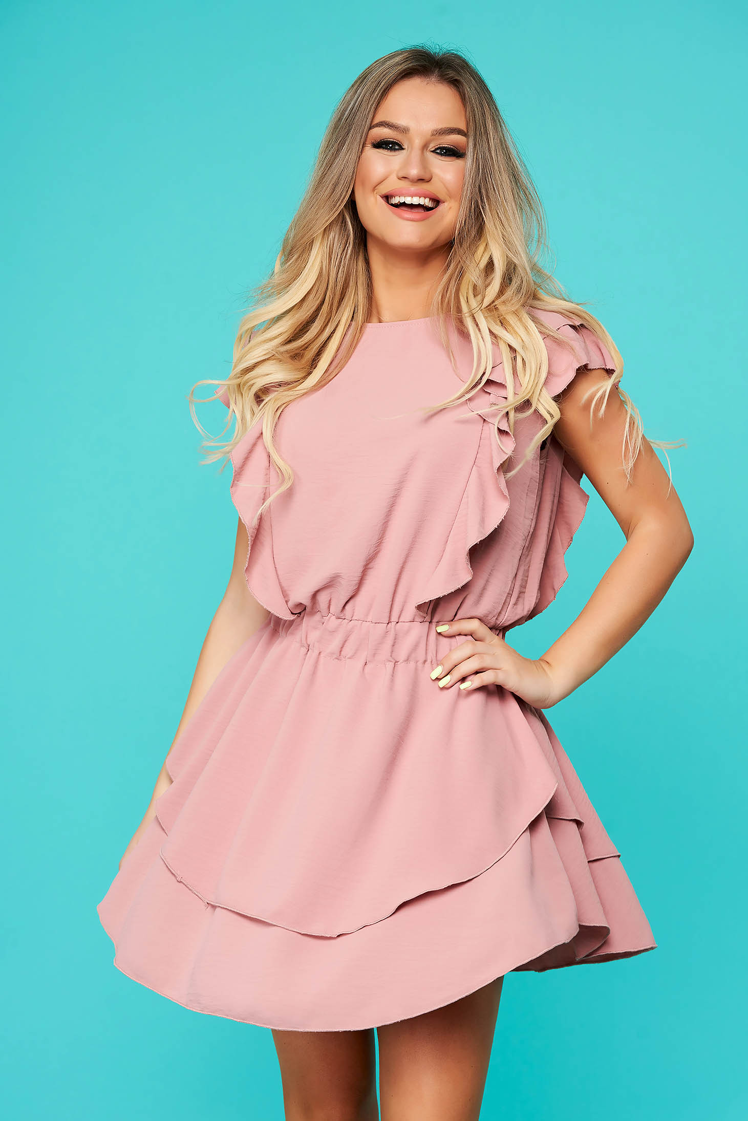 Lightpink dress daily flaring cut with elastic waist with ruffle details