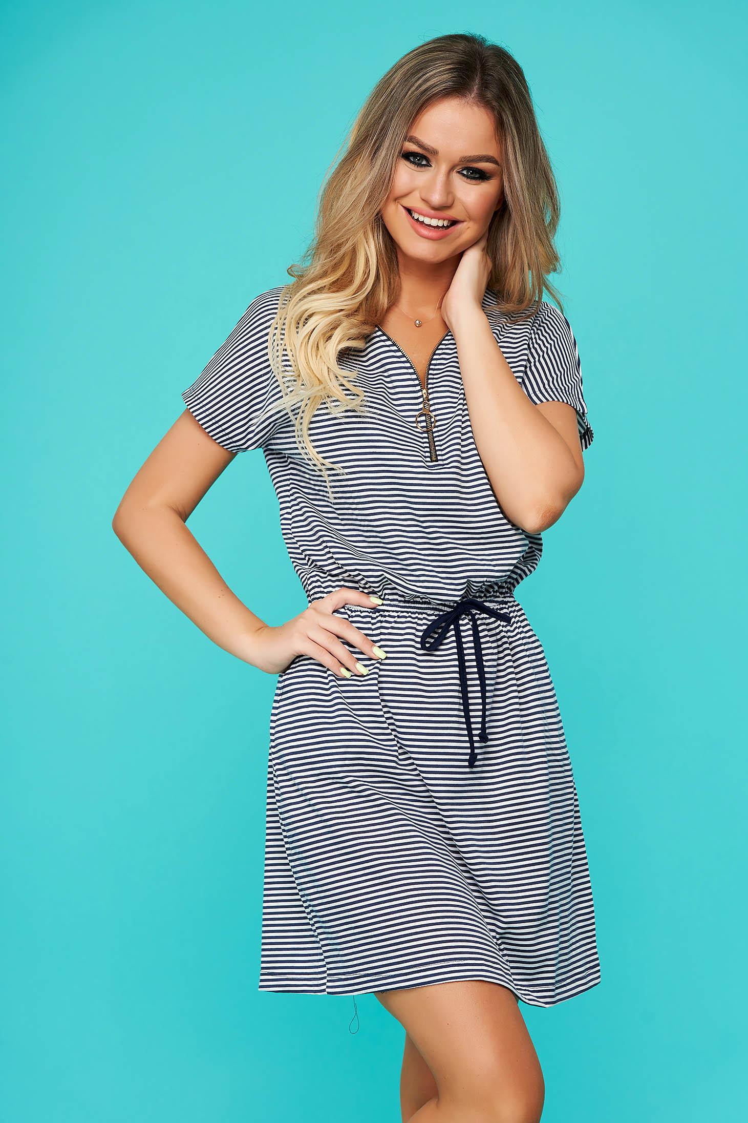 Rochie SunShine albastru-inchis din bumbac casual cu un croi drept cu elastic in talie accesorizata cu fermoar