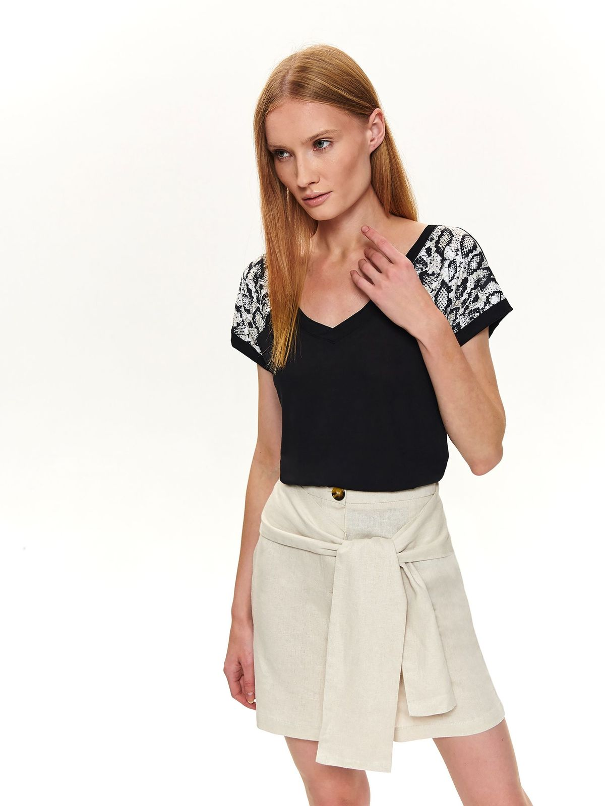 Black women`s blouse casual with v-neckline short sleeves tented