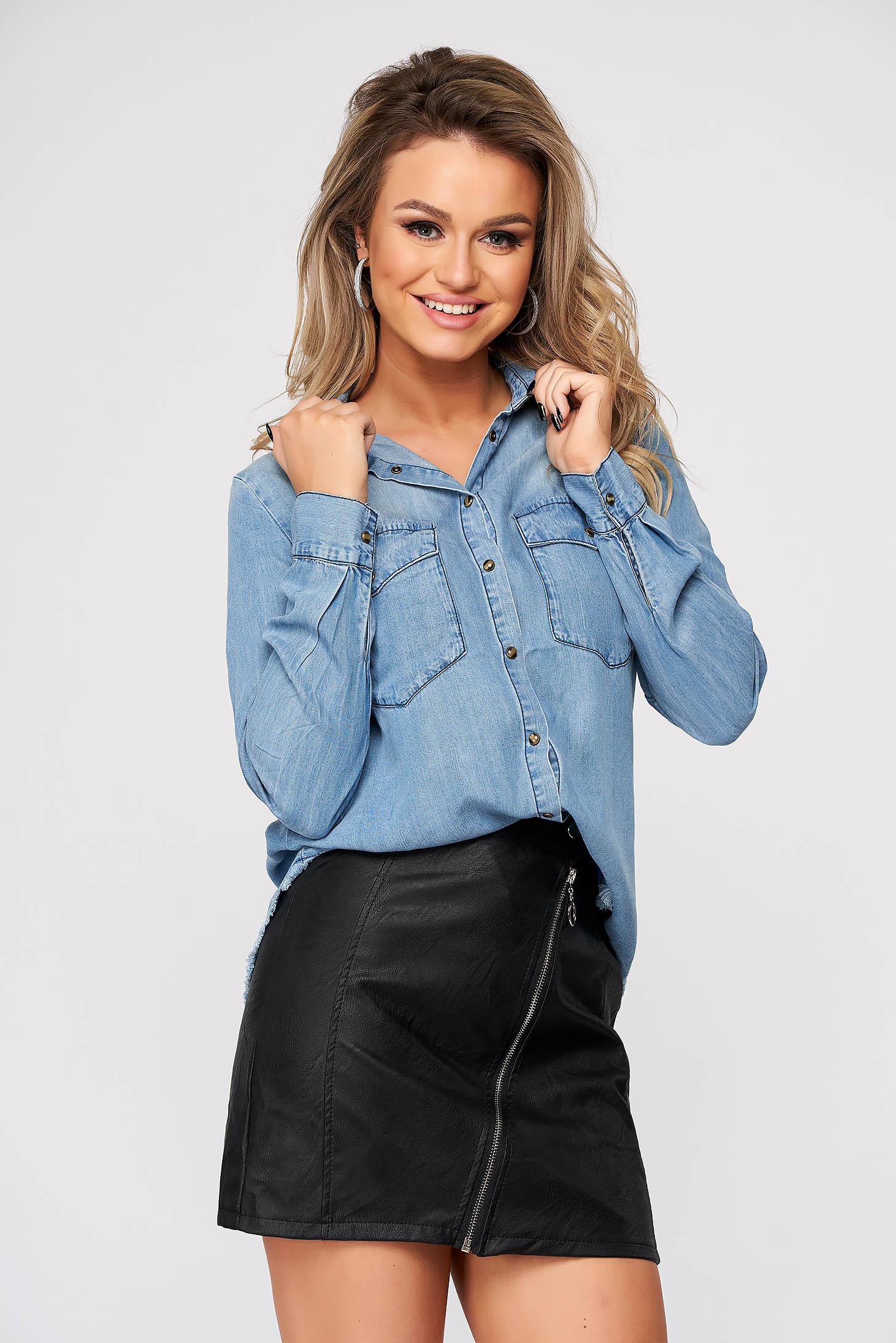 Blue women`s shirt casual flared long sleeved denim