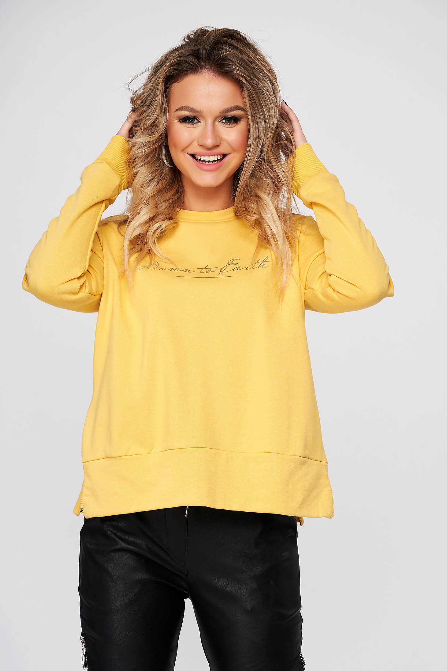 Yellow women`s blouse casual flared nonelastic cotton