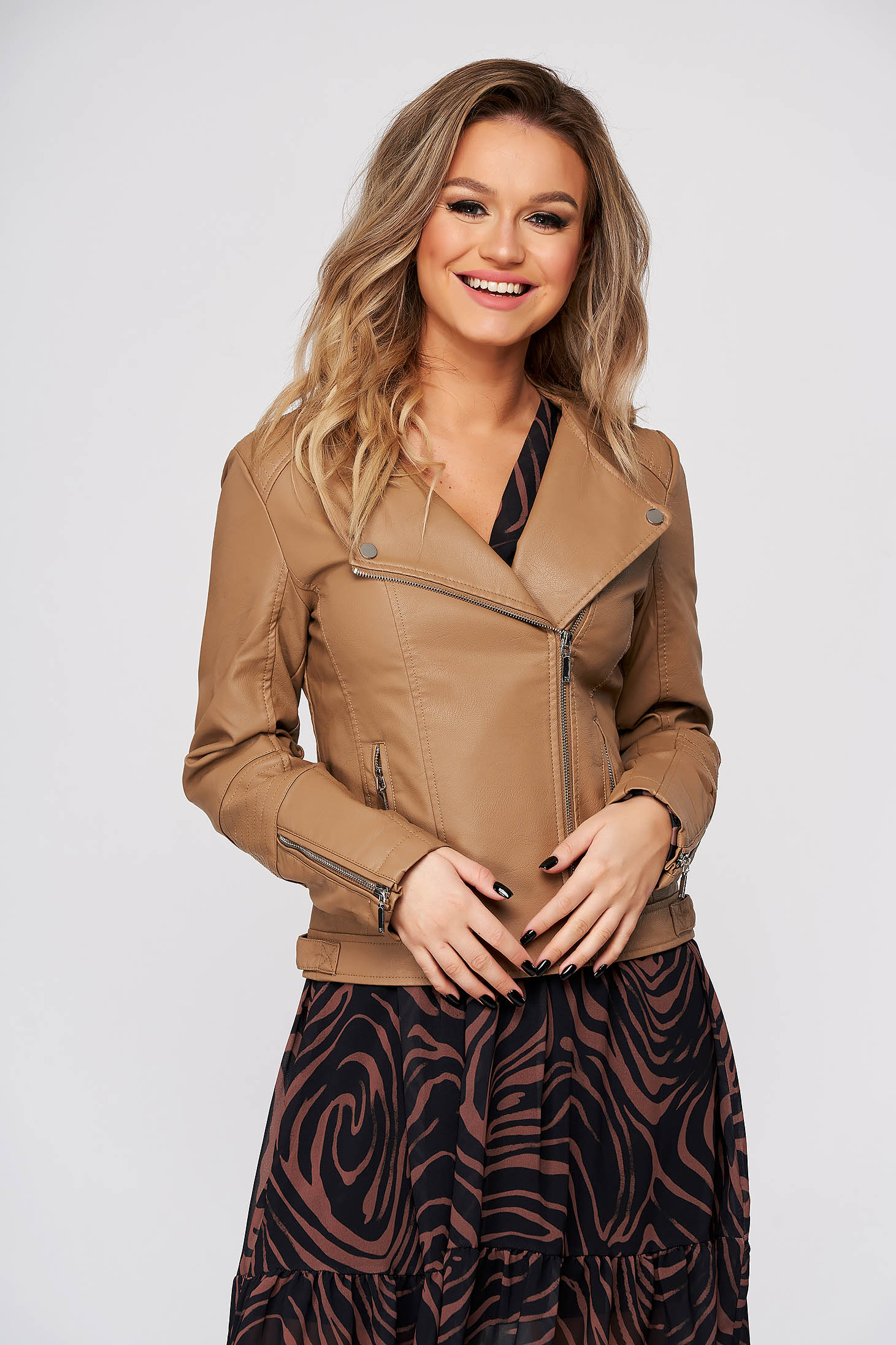 Peach jacket casual from ecological leather with inside lining