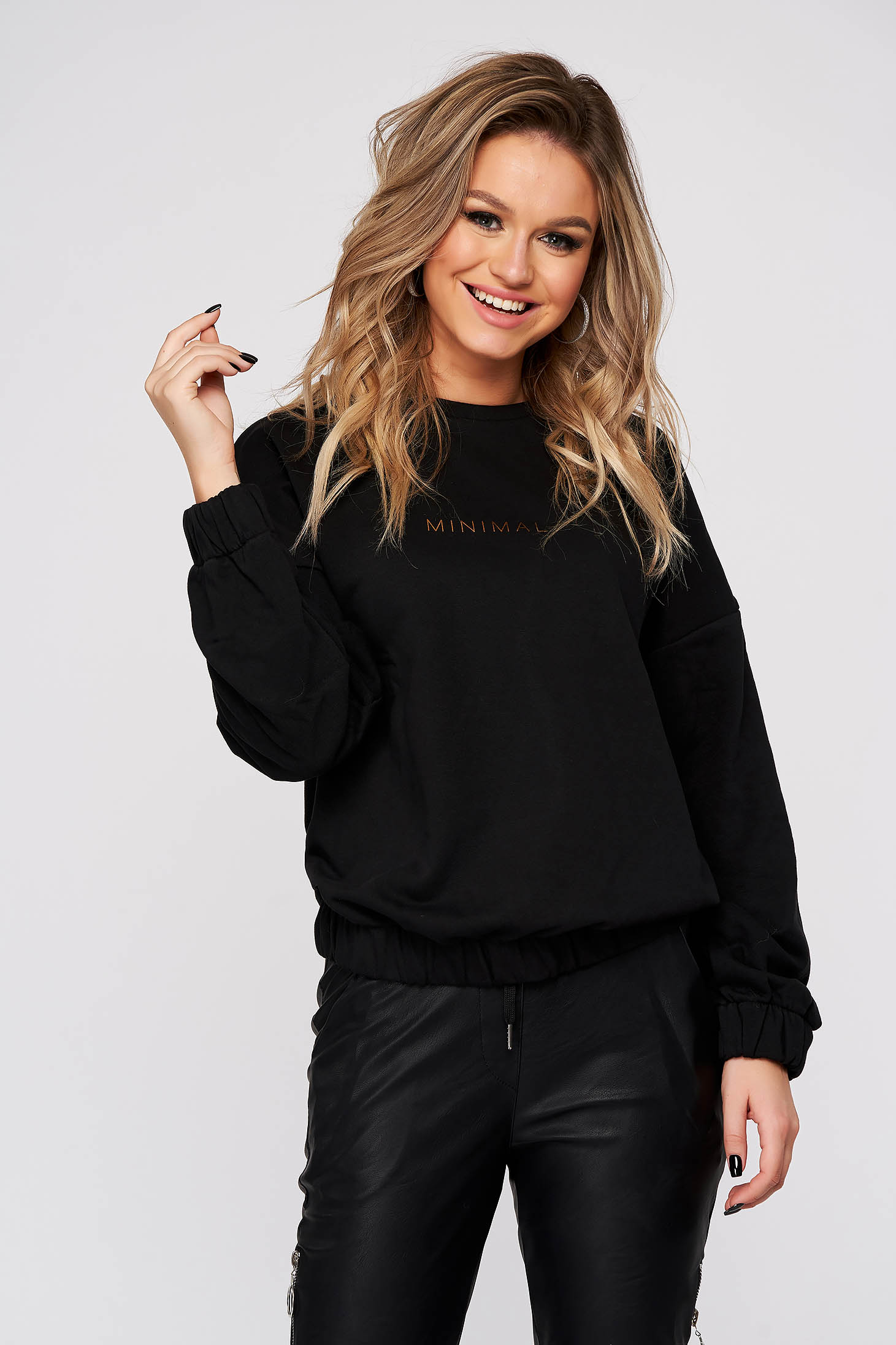 Black women`s blouse casual flared from thick fabric