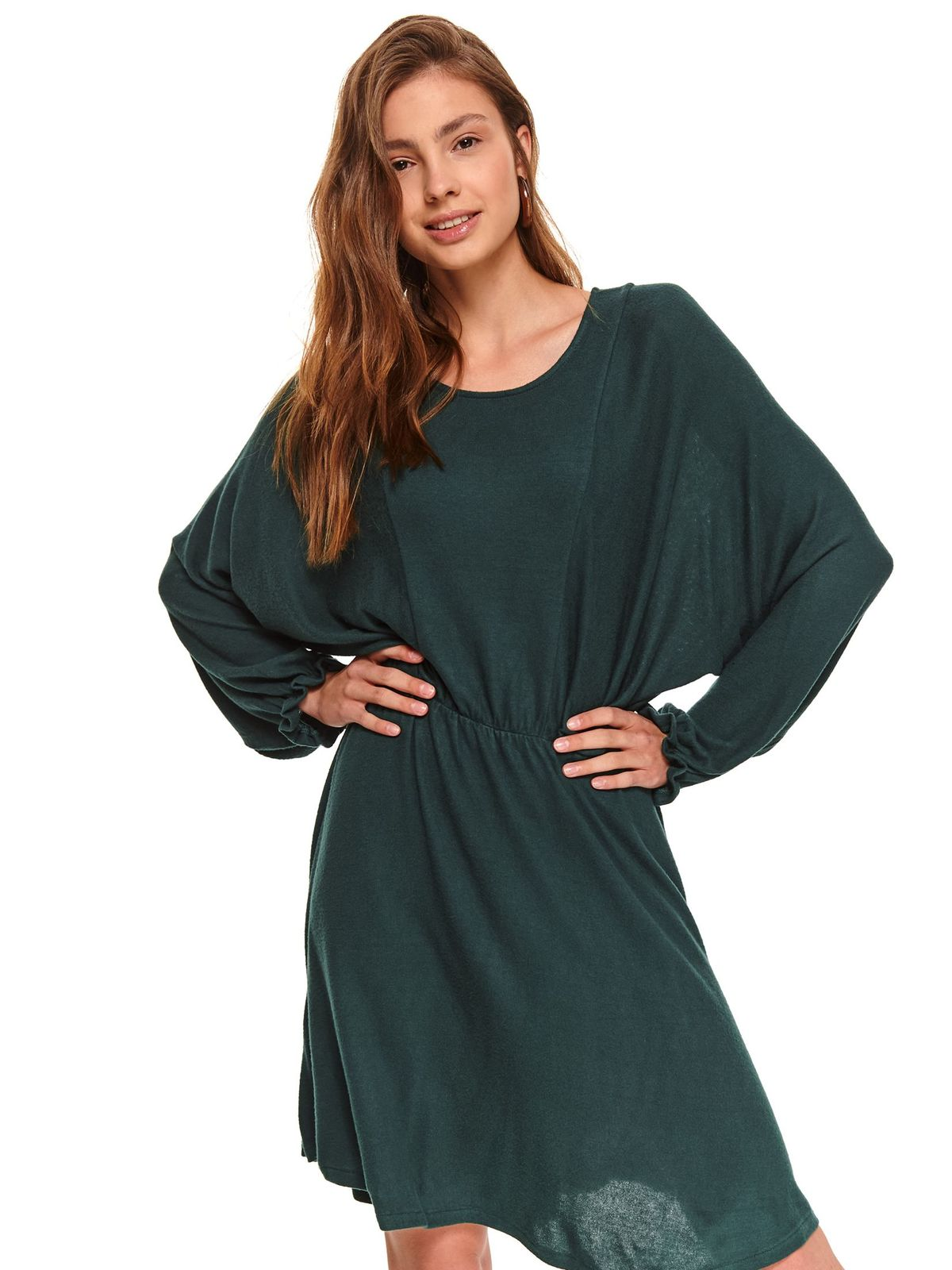 Green dress daily flared with elastic waist airy fabric