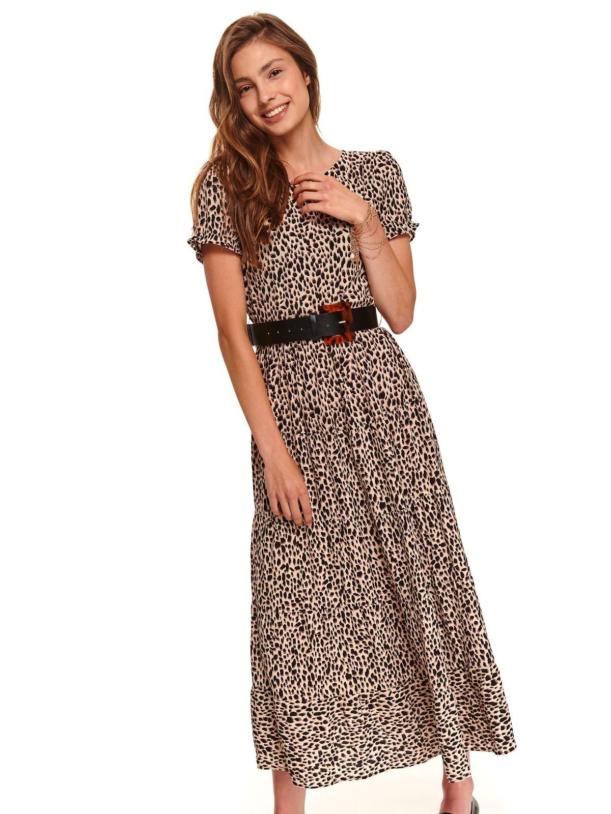 Peach dress daily midi cloche airy fabric accessorized with belt