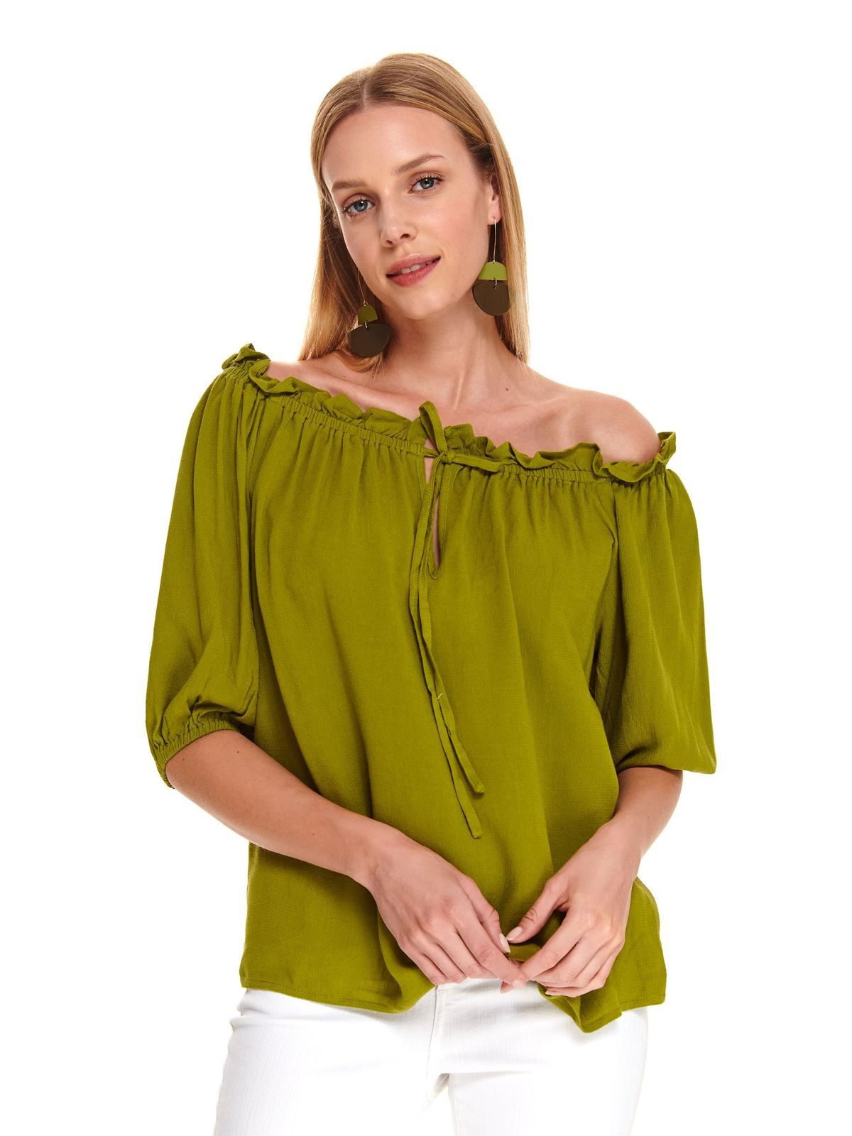 Mint women`s blouse casual flared off-shoulder 3/4 sleeve airy fabric