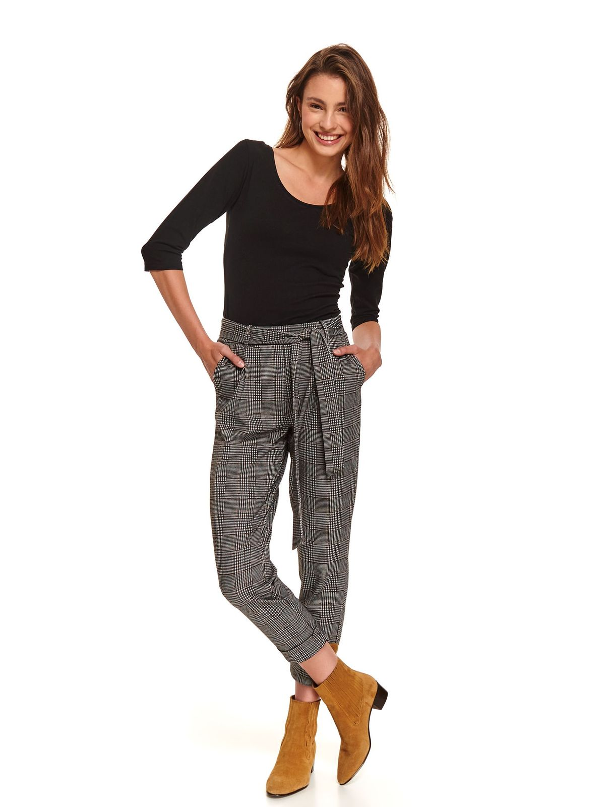 Black trousers casual with medium waist slightly elastic fabric with chequers accessorized with tied waistband
