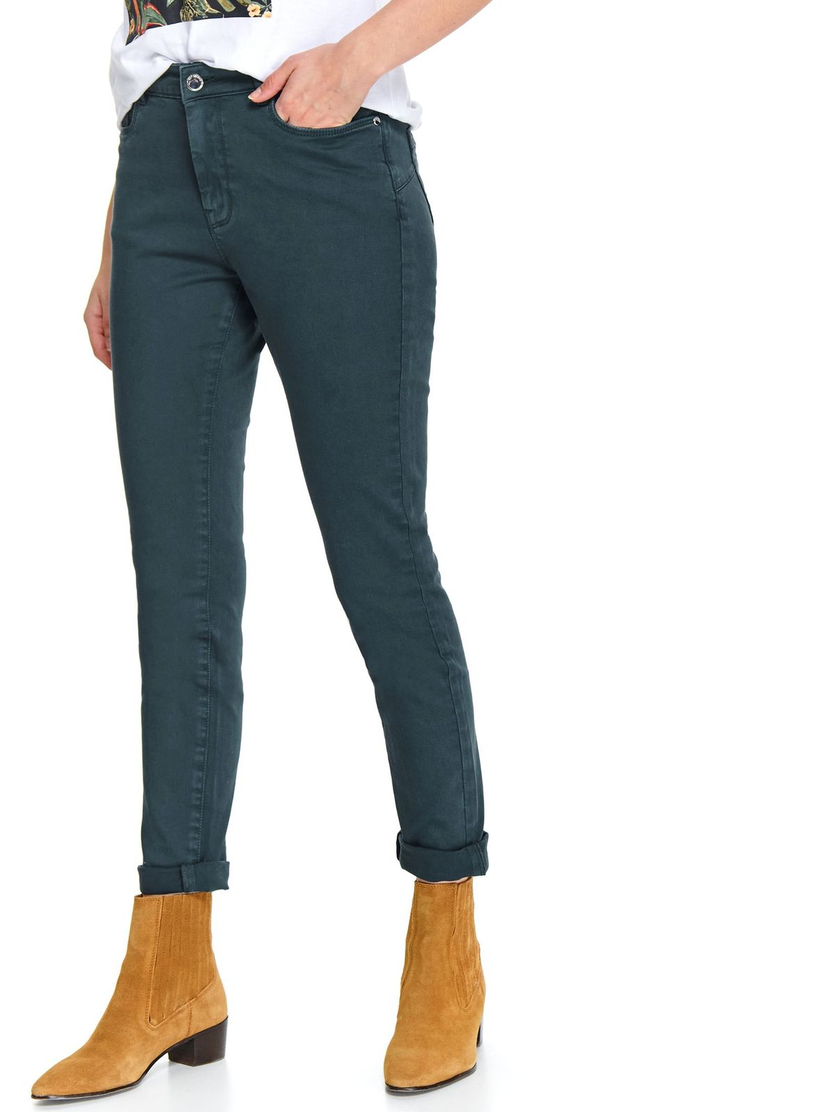 Turquoise trousers casual long medium waist slightly elastic cotton with tented cut