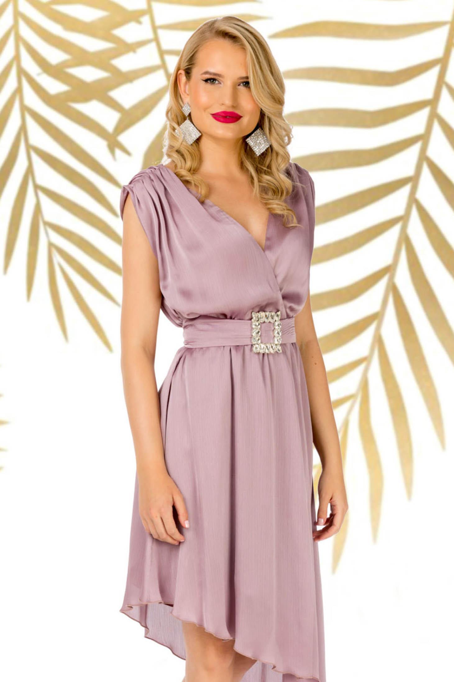 Rochie PrettyGirl roz prafuit eleganta asimetrica in clos cu decolteu in v accesorizata cu cordon