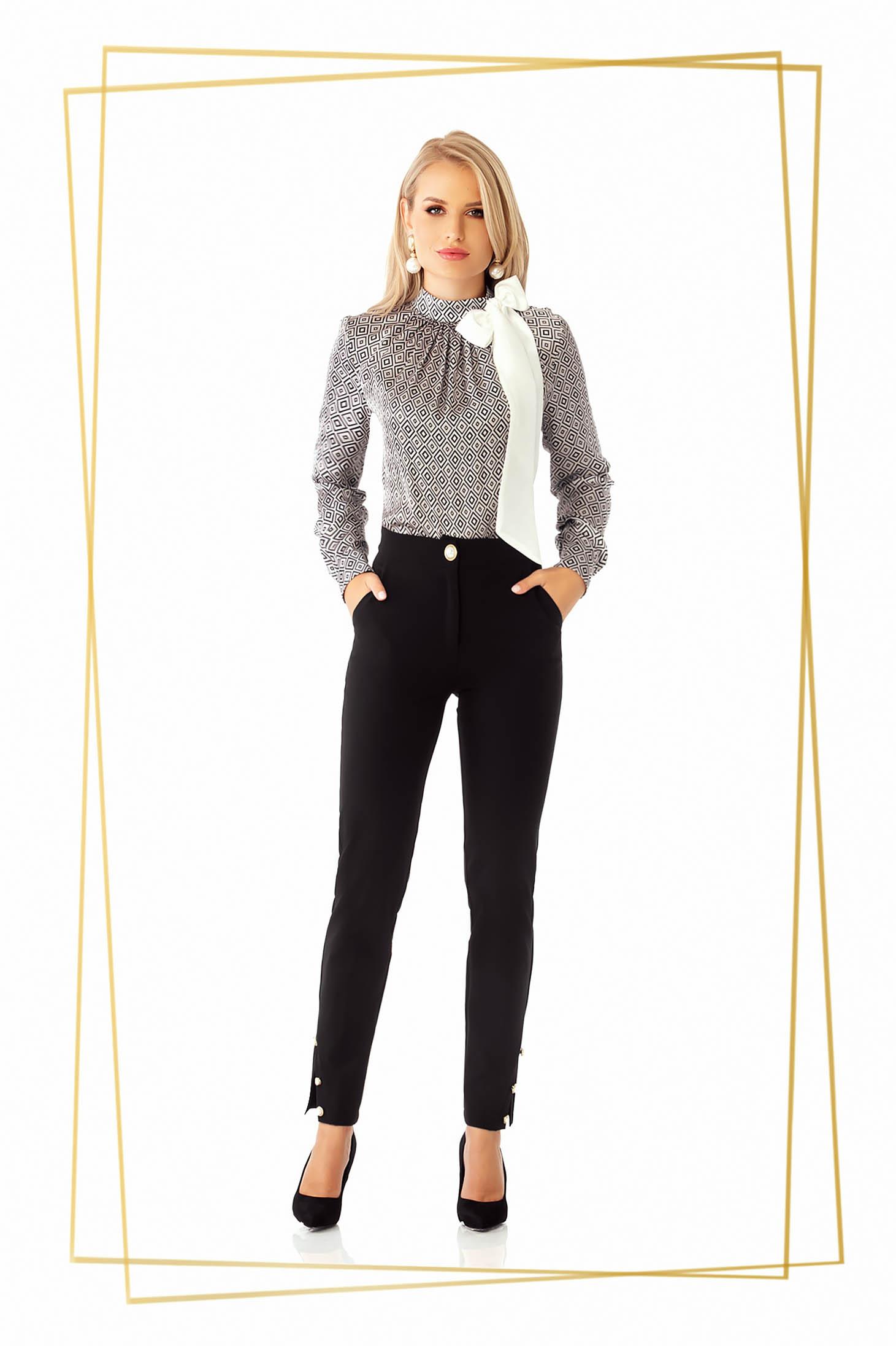 Pantaloni PrettyGirl negri office conici cu talie medie cu un croi mulat din stofa
