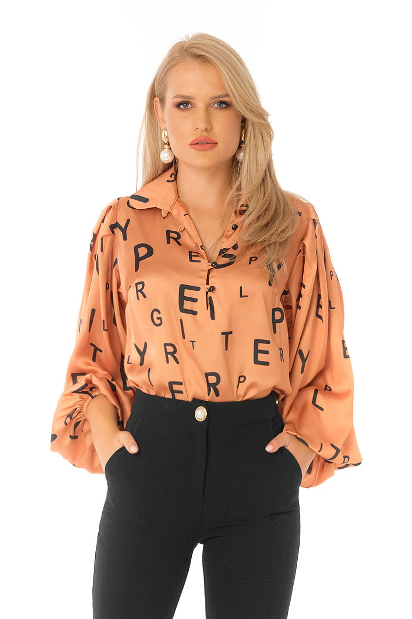 Orange women`s blouse elegant flared with puffed sleeves from satin fabric texture
