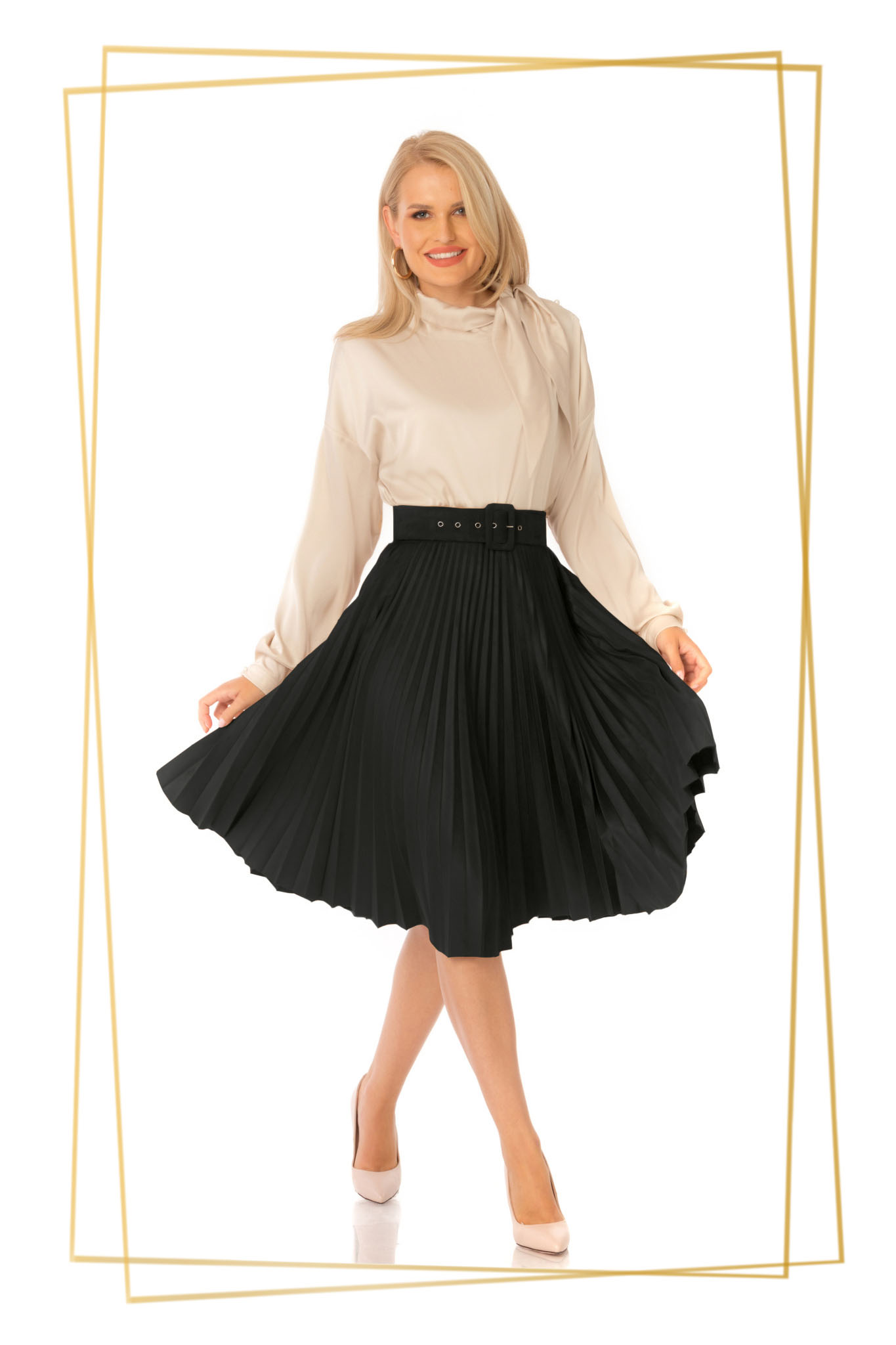 Black skirt elegant cloche high waisted folded up accessorized with belt