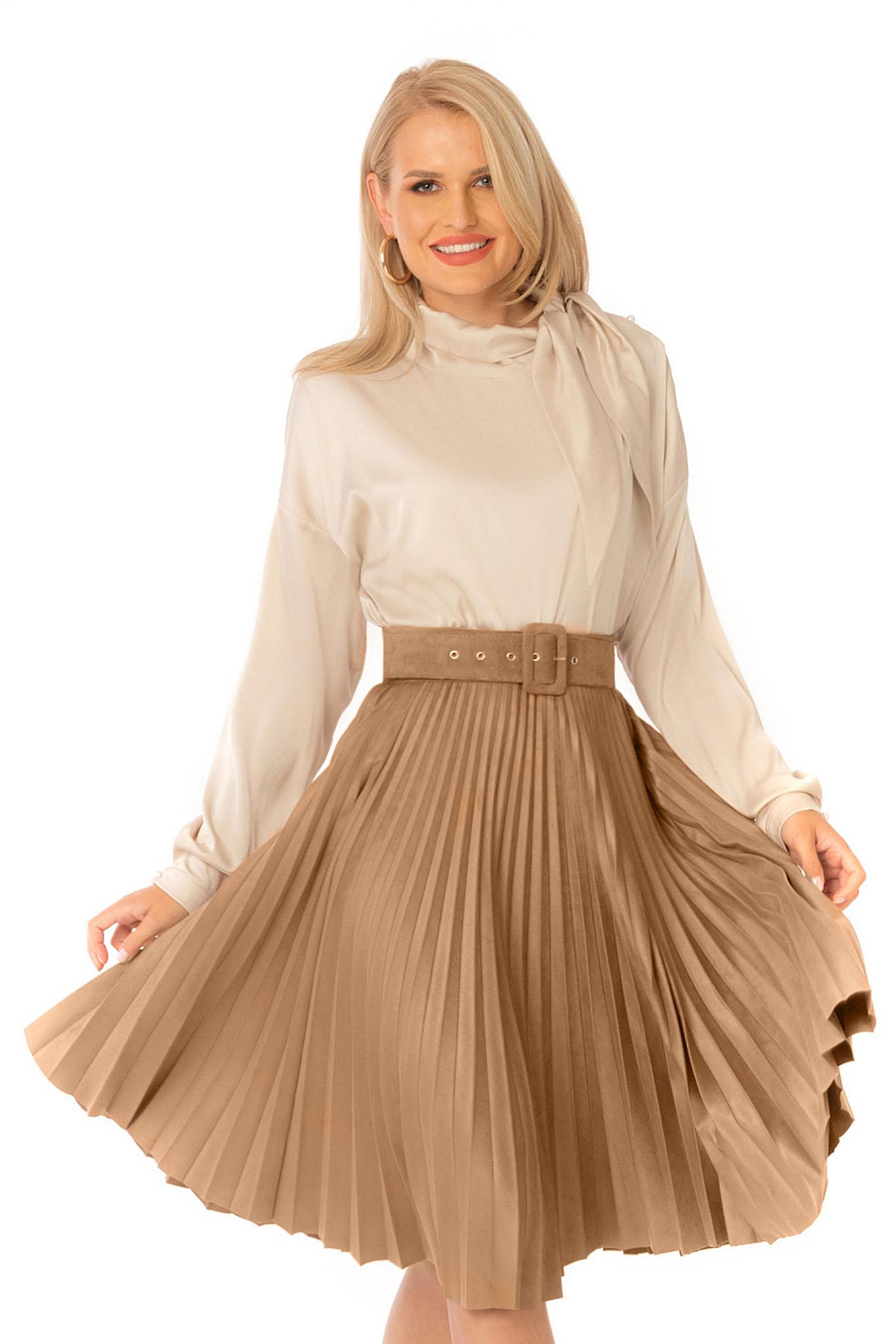 Cream women`s blouse elegant flared long sleeve