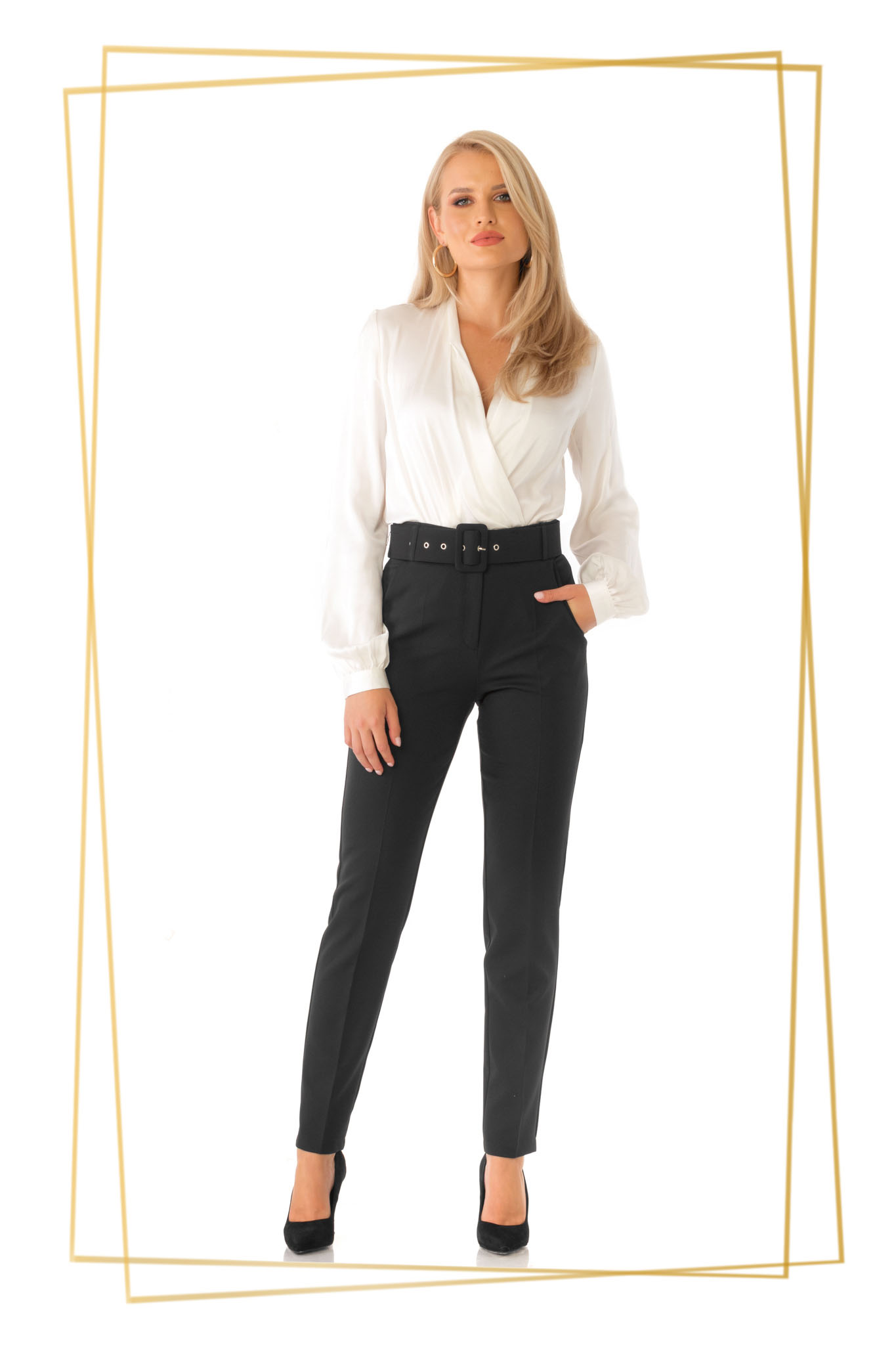Pantaloni PrettyGirl negri office conici cu talie inalta din stofa usor elastica cu accesoriu tip curea